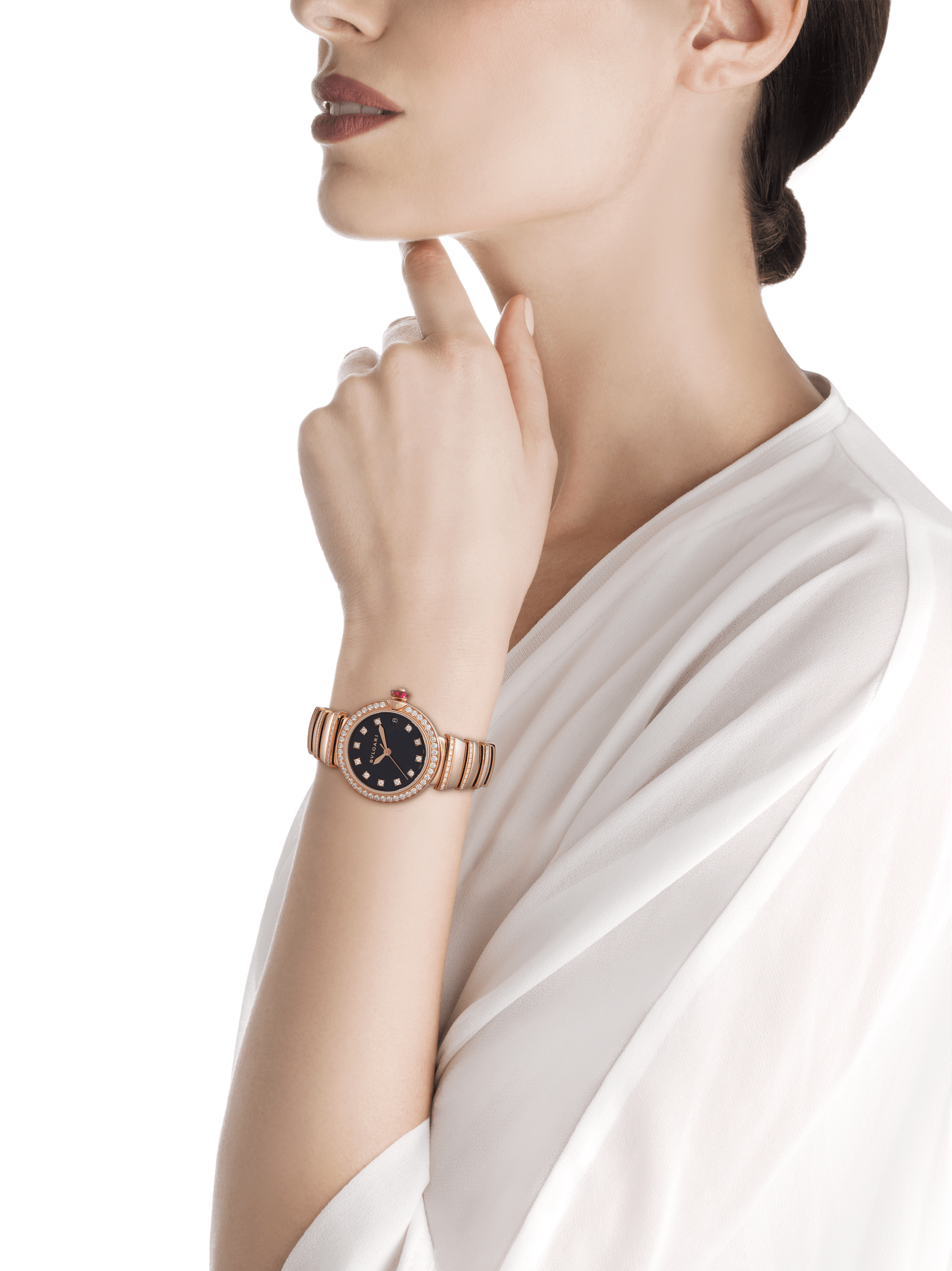 LVCEA watch in 18 kt rose gold and brilliant-cut diamond case and bracelet, with black opaline dial. 102191 image 6
