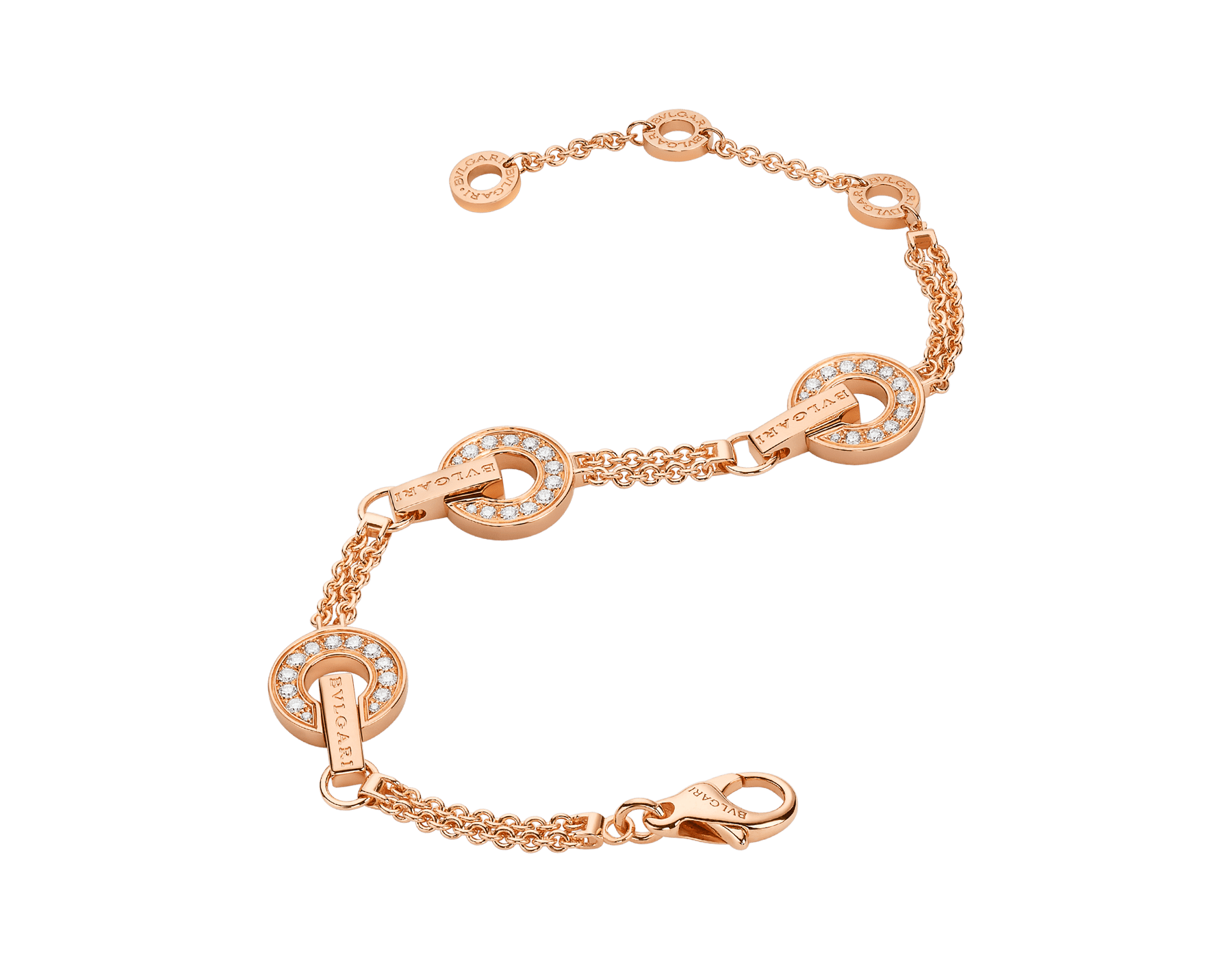 BVLGARI BVLGARI openwork 18 kt rose gold bracelet set with full pavé diamonds on the circular elements BR858775 image 2