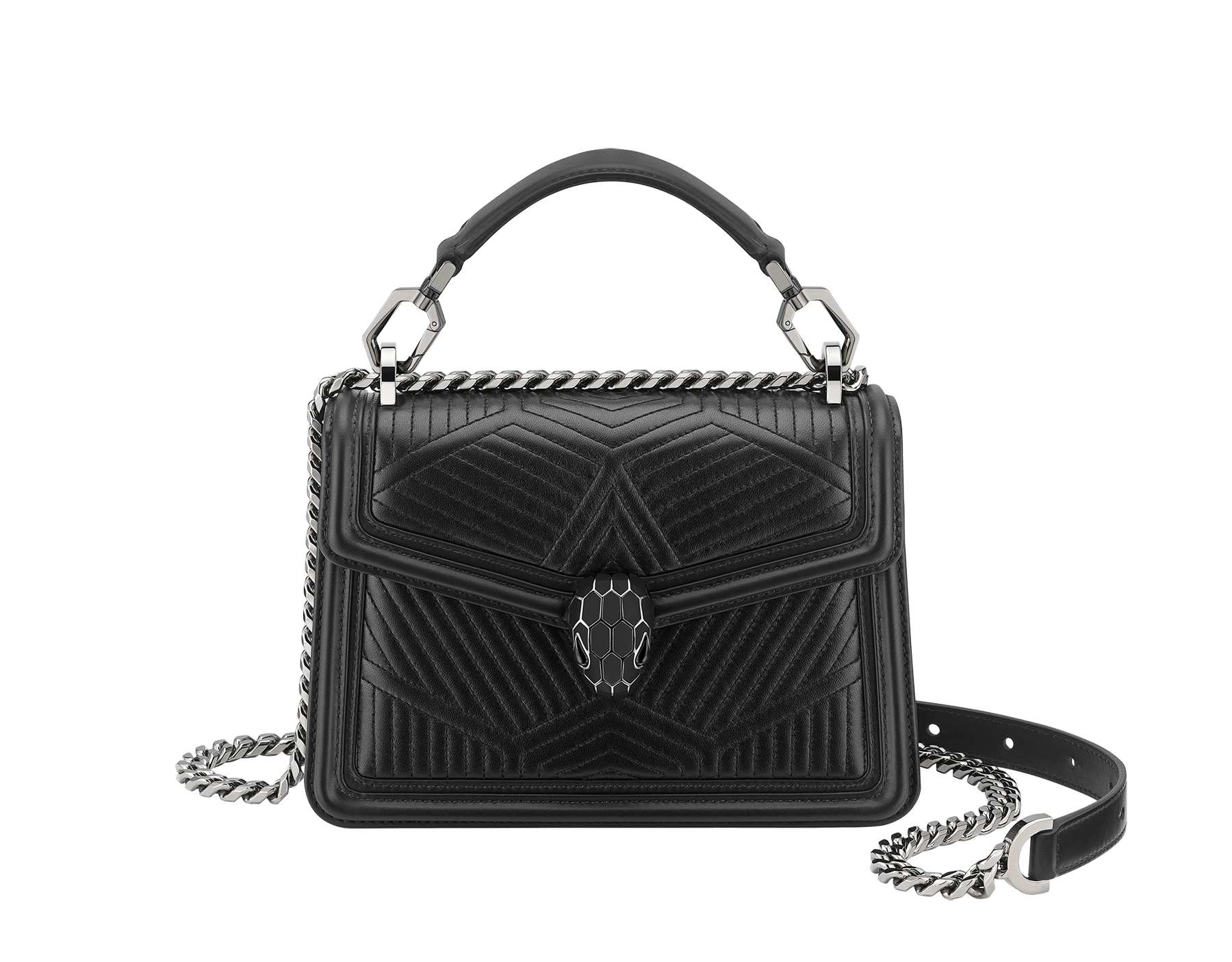"""Serpenti Diamond Blast"" crossbody bag in white agate quilted nappa leather and berry tourmaline smooth calf leather frames. Tempting snakehead closure in light gold-plated brass enhanced with matte black and shiny berry tourmaline enamel and black onyx eyes. 1063-FQDa image 1"