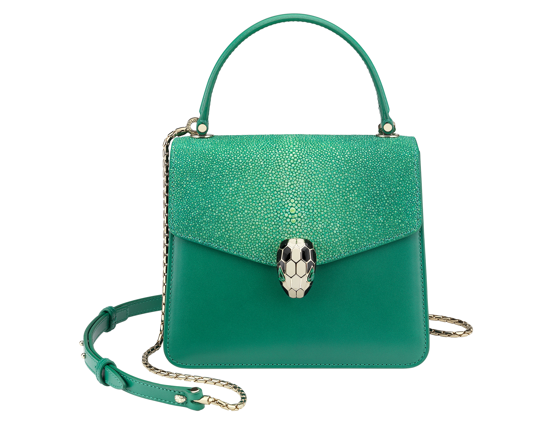 Flap cover bag Serpenti Forever in emerald green galuchat skin and emerald green calf leather. 282373 image 1