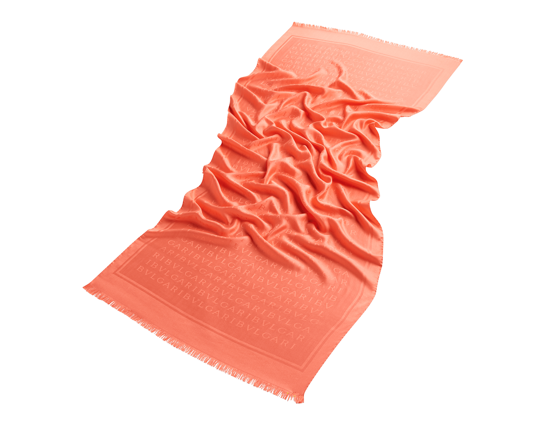 Silky Coral Lettere Maxi Light stole in fine silk. 244058 image 1