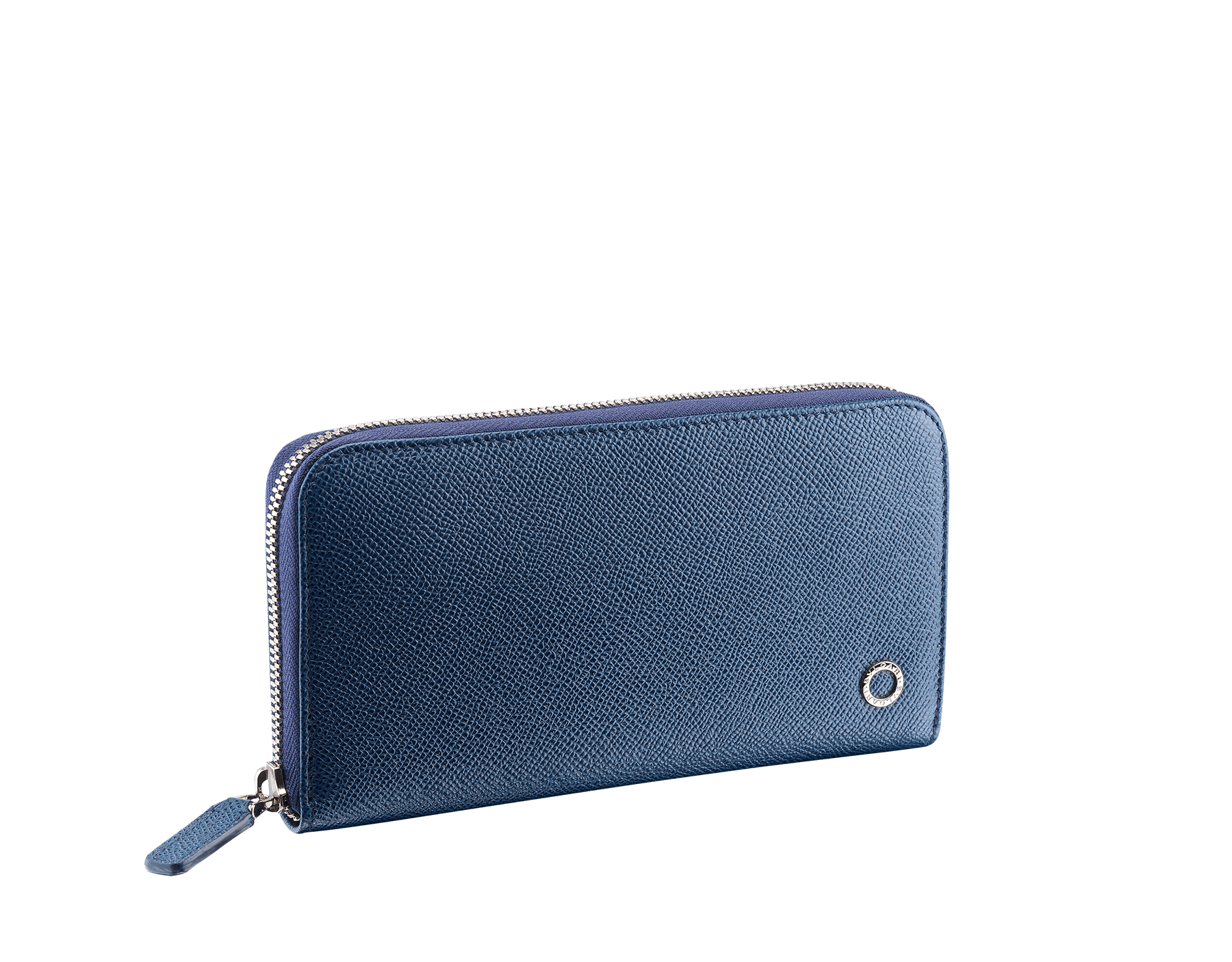 """BVLGARI BVLGARI"" large zipped wallet in Pluto Stone gray and Denim Sapphire blue grained calf leather. Iconic logo-bearing embellishment in palladium-plated brass. BBM-WLT-M-ZIPa image 1"
