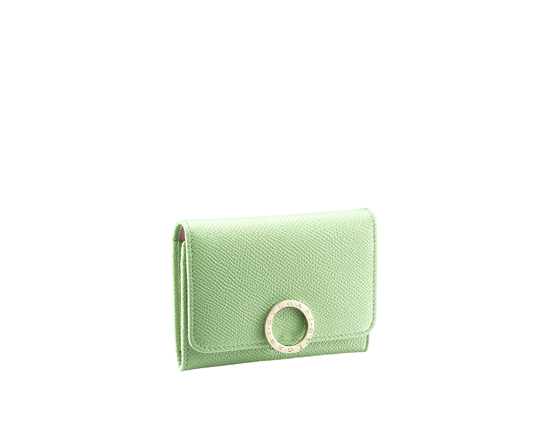 """""""BVLGARI BVLGARI"""" business card holder in mint bright grain calf leather and taffy quartz nappa leather. Iconic logo clip closure in light gold plated brass. 579-BC-HOLDER-BGCLc image 1"""