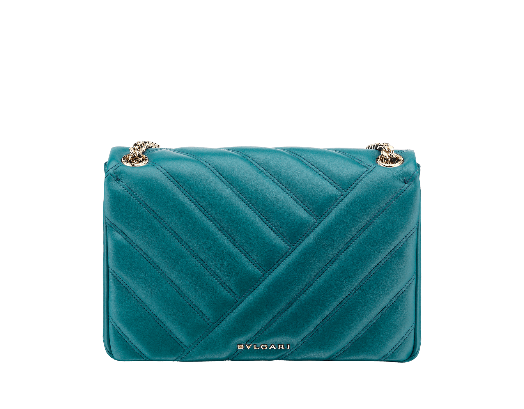 Serpenti Cabochon shoulder bag in soft matelassè deep jade nappa leather, with a graphic motif, and deep jade calf leather. Brass light gold plated tempting snake head closure in matte deep jade and shiny deep jade enamel, with black onyx eyes. 287984 image 3