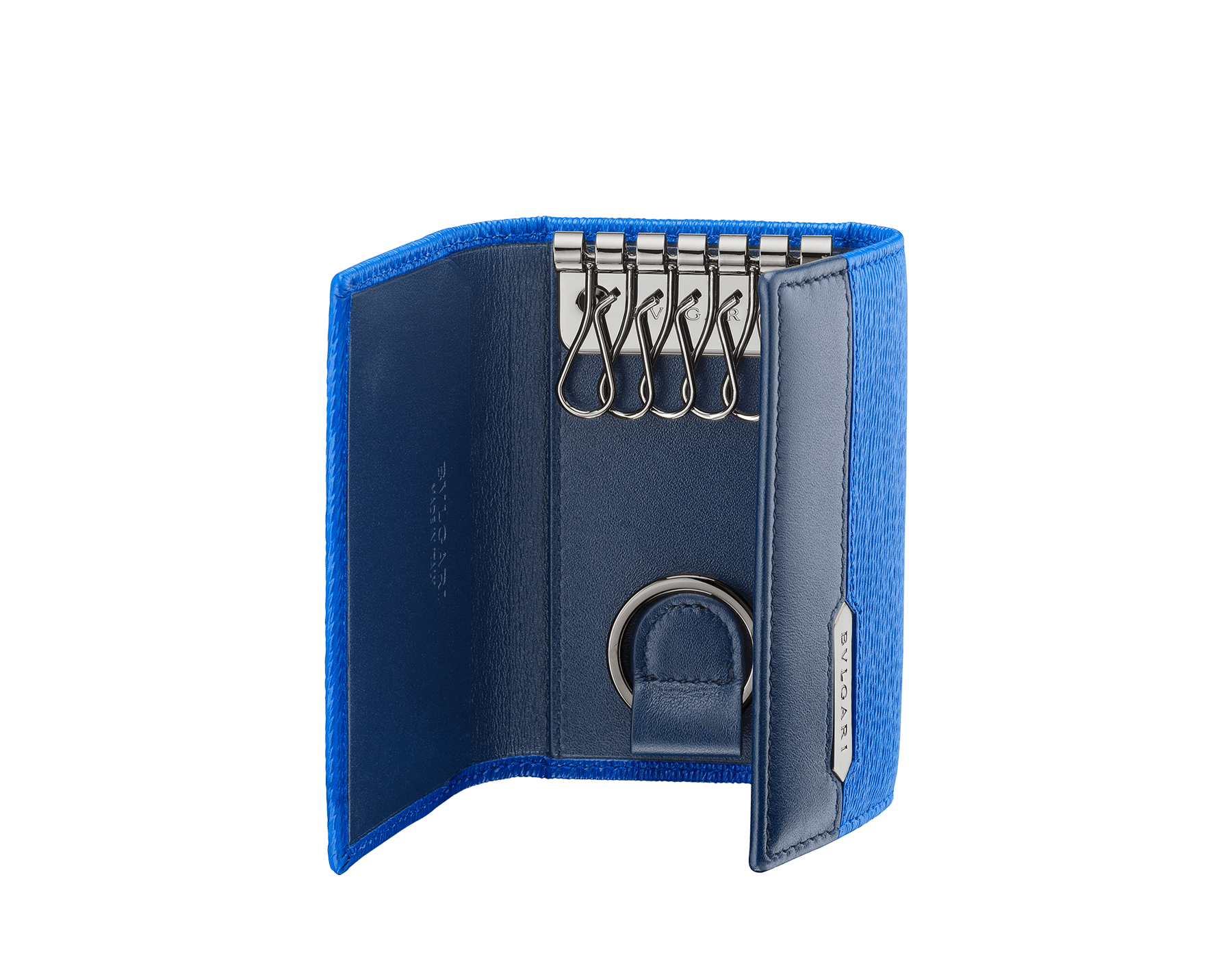 Serpenti Scaglie men's key holder in cobalt tourmaline grazed calf leather and denim sapphire calf leather. Bvlgari logo engraved on the hexagonal scaglie metal plate finished in dark ruthenium. 288459 image 2