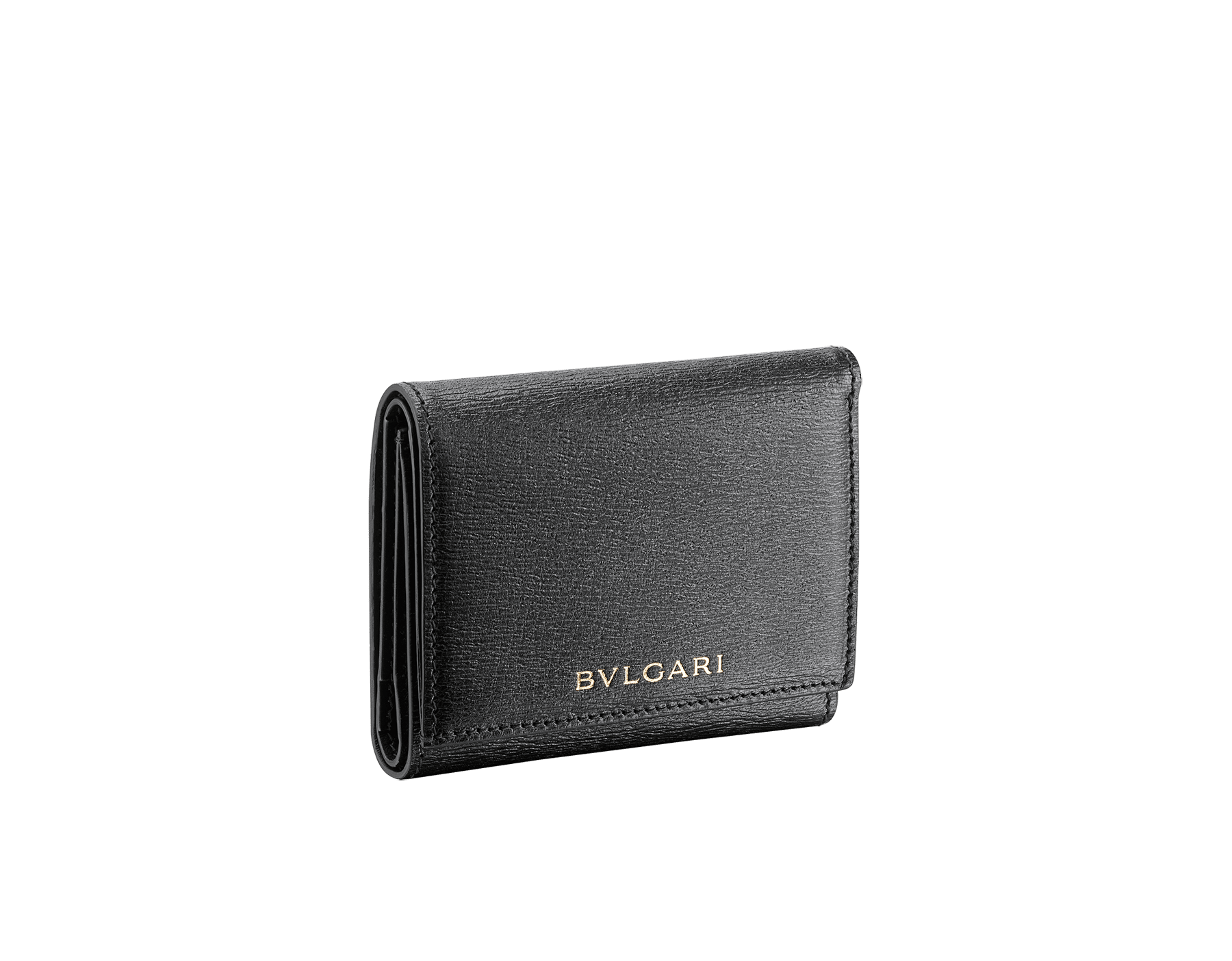 B.zero1 compact wallet in black goatskin tone on tone. Iconic B.zero1 zip puller in light gold plated brass and two press closures. 289145 image 1