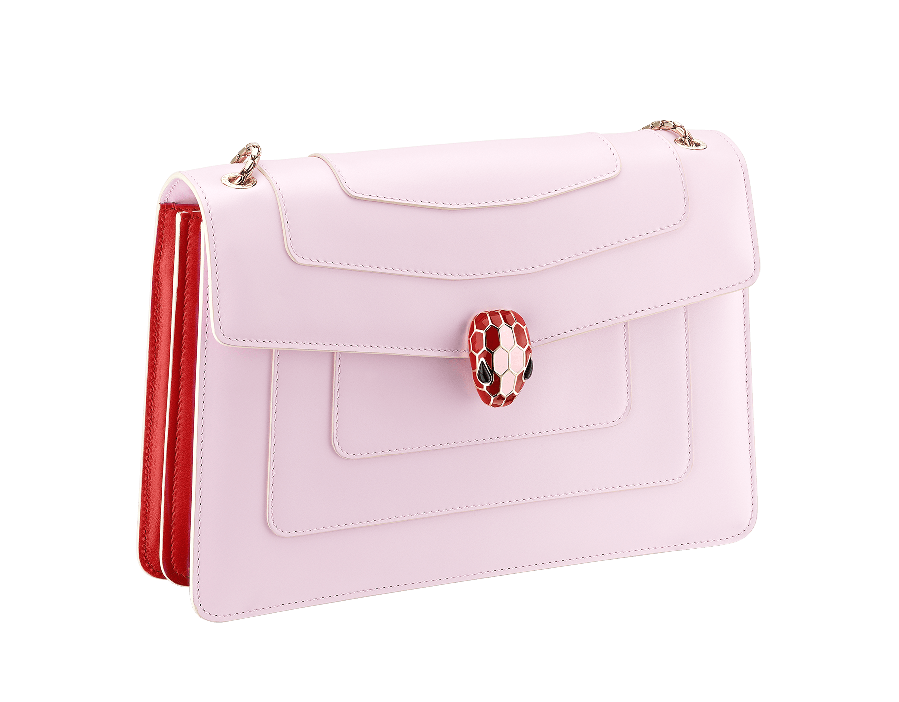 """Serpenti Forever"" shoulder bag in rosa di francia calf leather body and carmine jasper calf leather sides. Iconic snakehead closure in light gold plated brass enriched with carmine jasper and rosa di francia enamel and black onyx eyes. 289162 image 2"