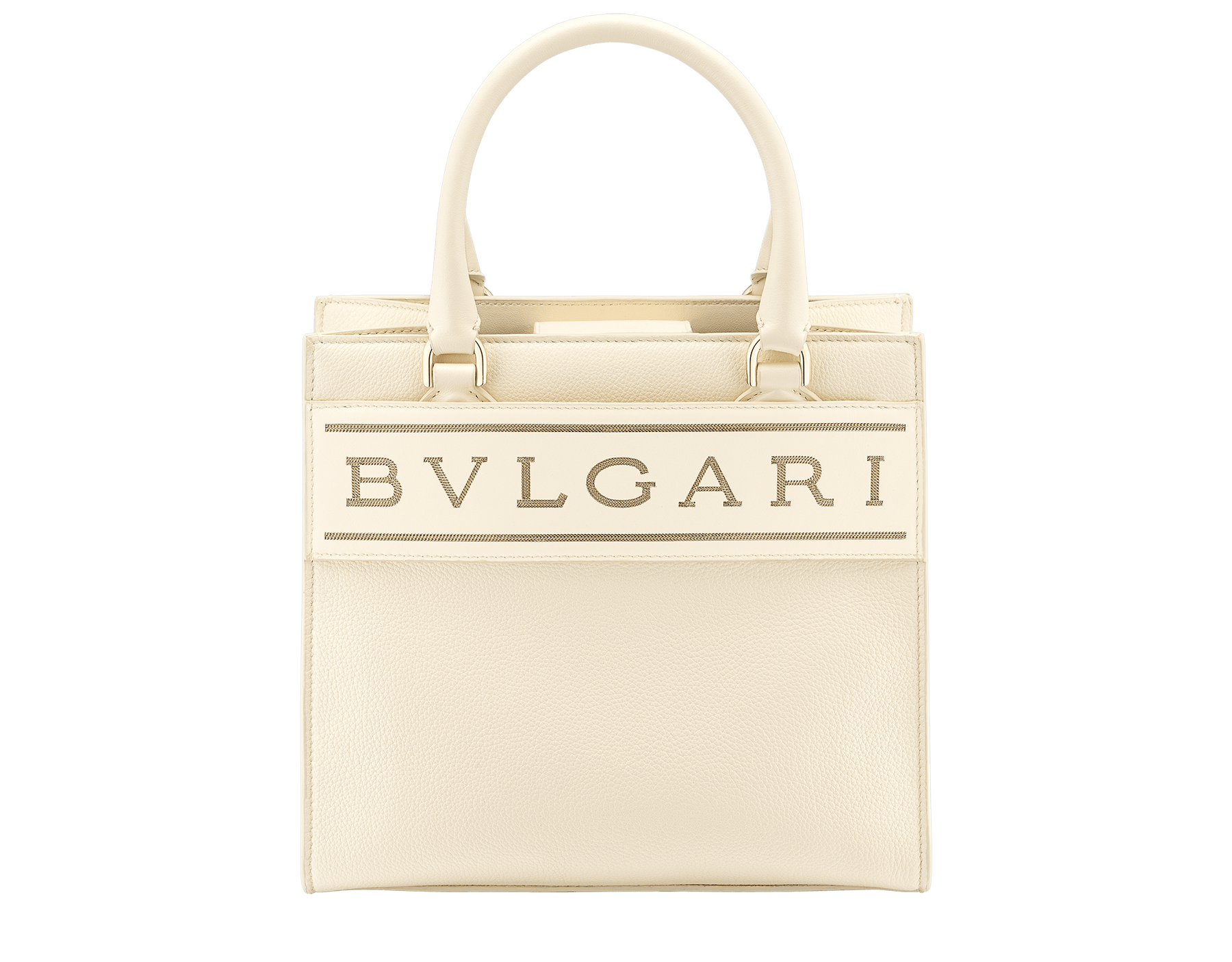 """Bvlgari Logo"" small tote bag in Ivory Opal white calf leather, with Beet Amethyst purple grosgrain inner lining. Bvlgari logo featuring light gold-plated brass chain inserts on the Ivory Opal white calf leather. BVL-1159-CL image 1"