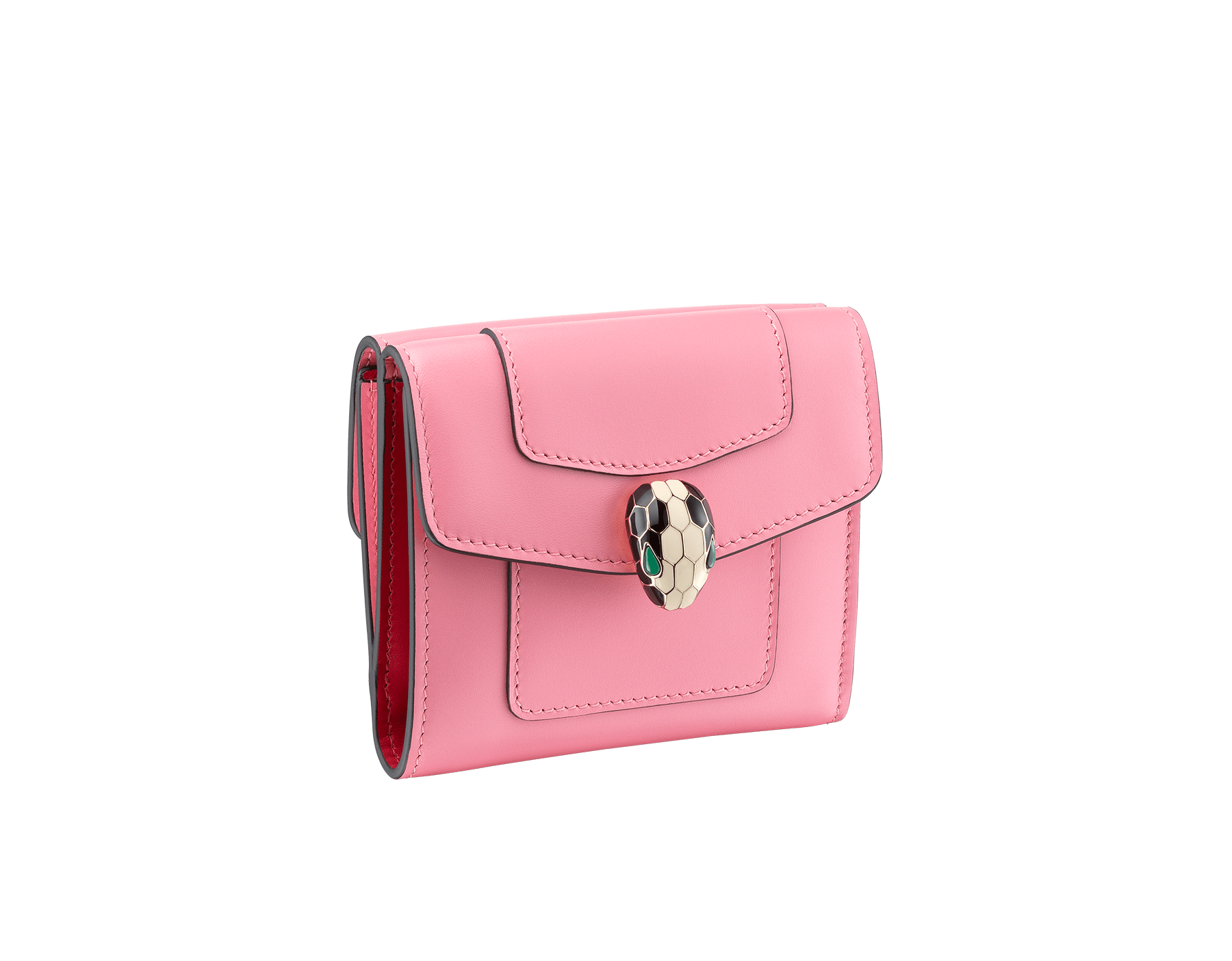 Serpenti Forever square compact wallet in candy quartz and carmine jasper calf leather. Iconic snakehead charm in black and white enamel, with green malachite eyes 287165 image 1