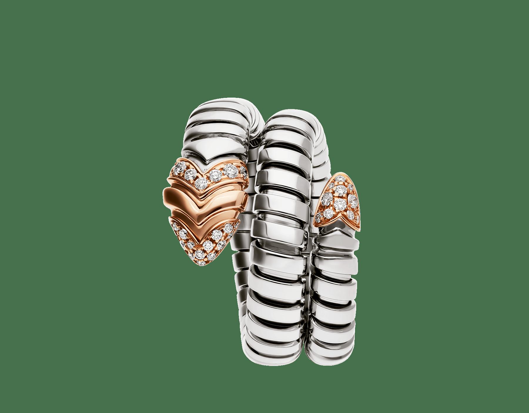 Associant le motif du serpent à la technique Tubogas pour créer une nouvelle forme de séduction, la bague Serpenti s'enroule autour du doigt avec la féminité de l'or rose, la modernité de l'acier et le glamour éclatant du pavé diamants. AN856666 image 2
