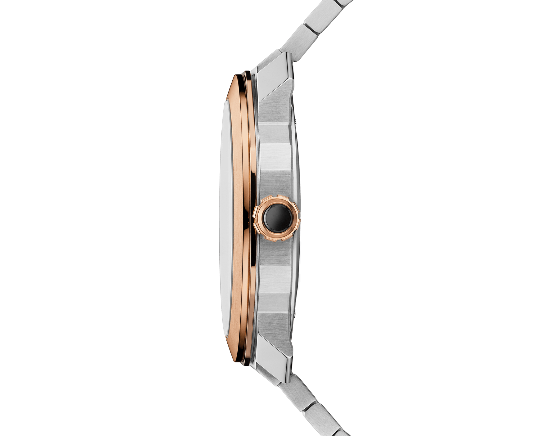 Octo Roma watch with mechanical manufacture movement, automatic winding, 18 kt rose gold and stainless steel case and bracelet, brown dial. 102854 image 3