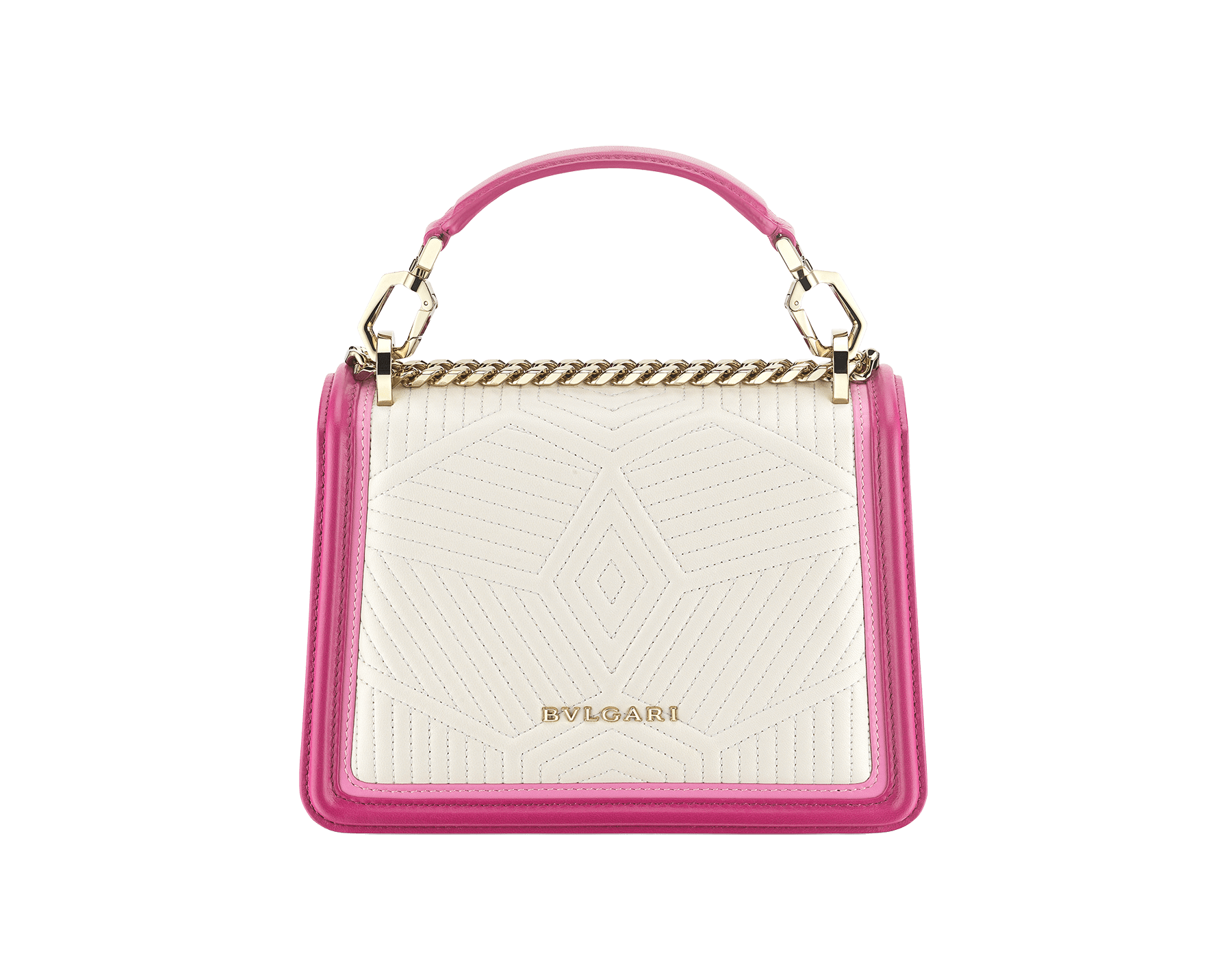 """Serpenti Diamond Blast"" top handle bag in white agate quilted nappa leather and berry tourmaline smooth calf leather frames. Iconic snakehead closure in light gold-plated brass enhanced with matte black and shiny berry tourmaline enamel and black onyx eyes. 289943 image 3"