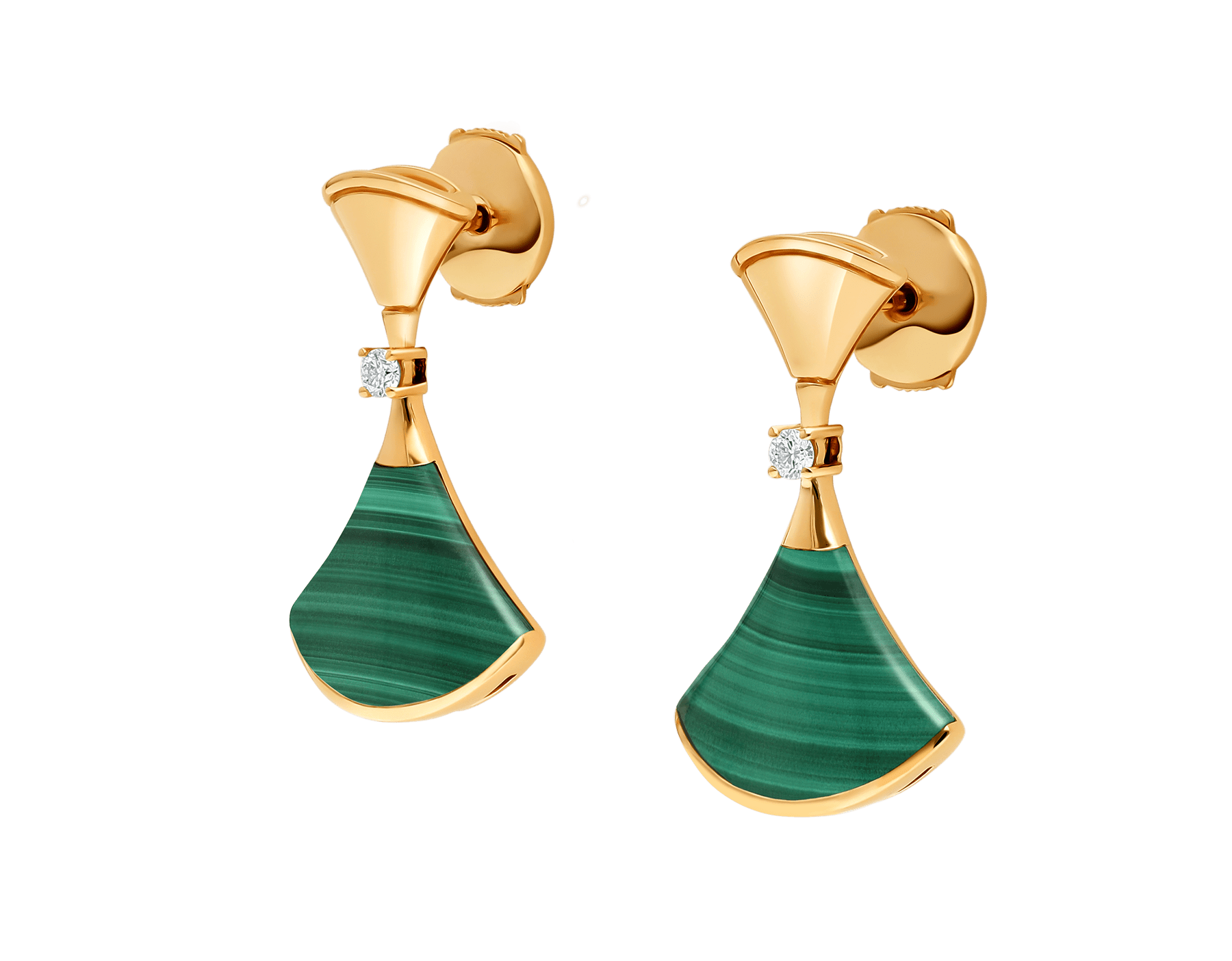 DIVAS' DREAM 18 kt rose gold earrings set with malachite elements and round brilliant-cut diamonds (0.07) 358128 image 2