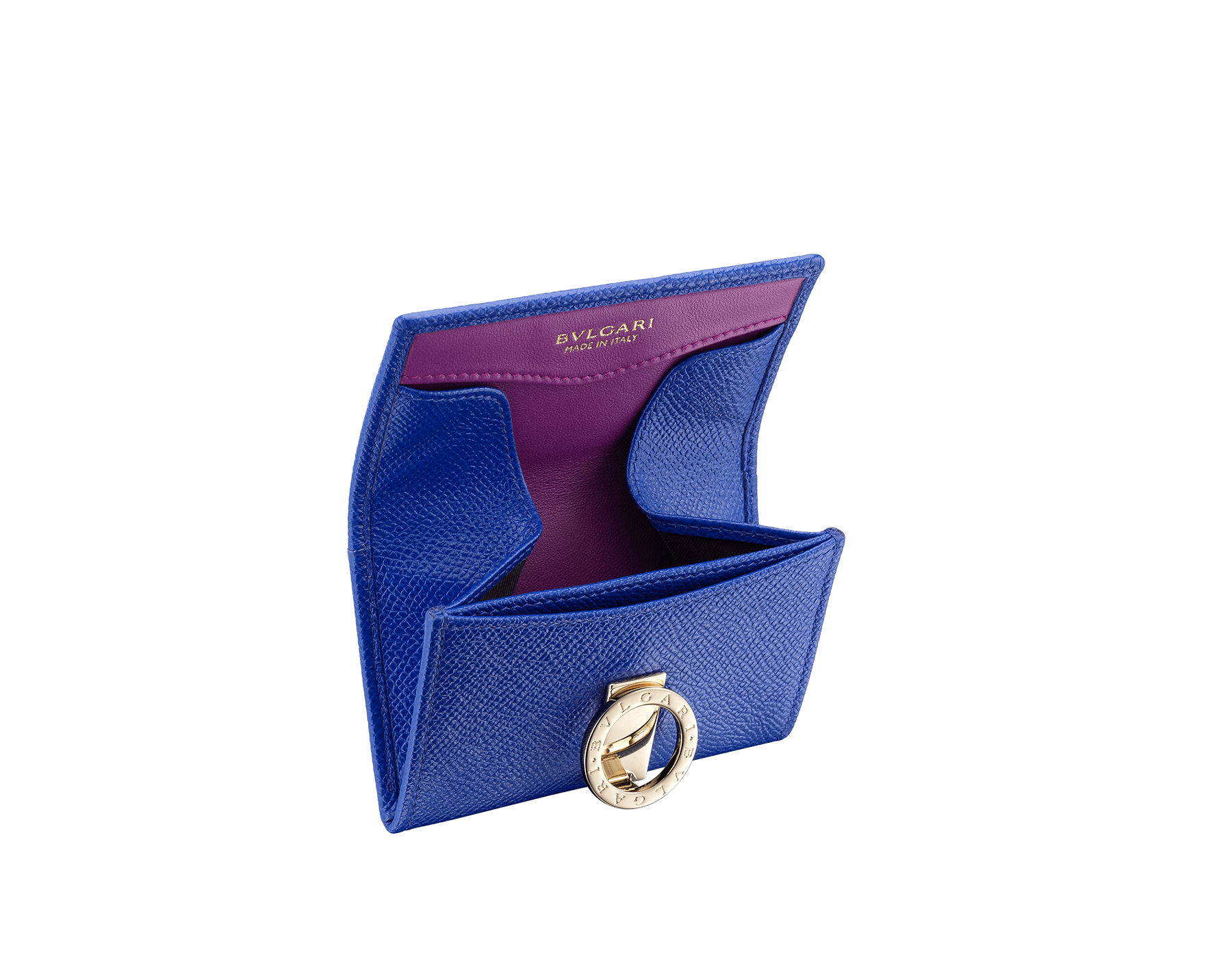 BVLGARI BVLGARI coin purse in cobalt tourmaline grain calf leather and aster amethyst nappa leather. Iconic logo closure clip in light gold plated brass 579-WLT-S-RECT image 2