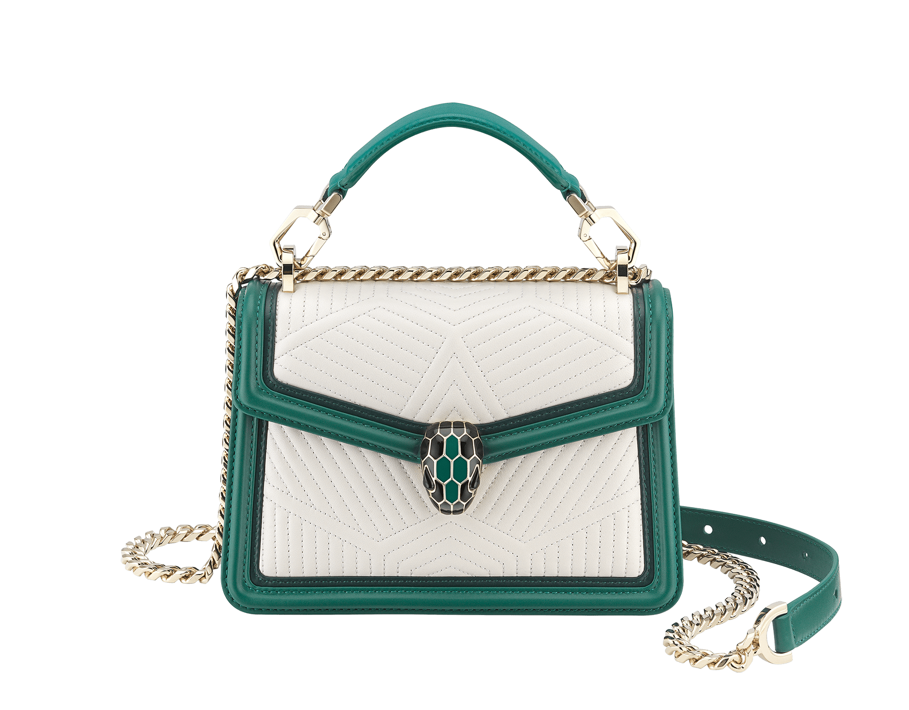 """Serpenti Diamond Blast"" top handle bag in white agate quilted nappa leather and emerald green smooth calf leather frames. Iconic snakehead closure in light gold-plated brass enriched with matte black and shiny emerald green enamel and black onyx eyes. 289944 image 1"