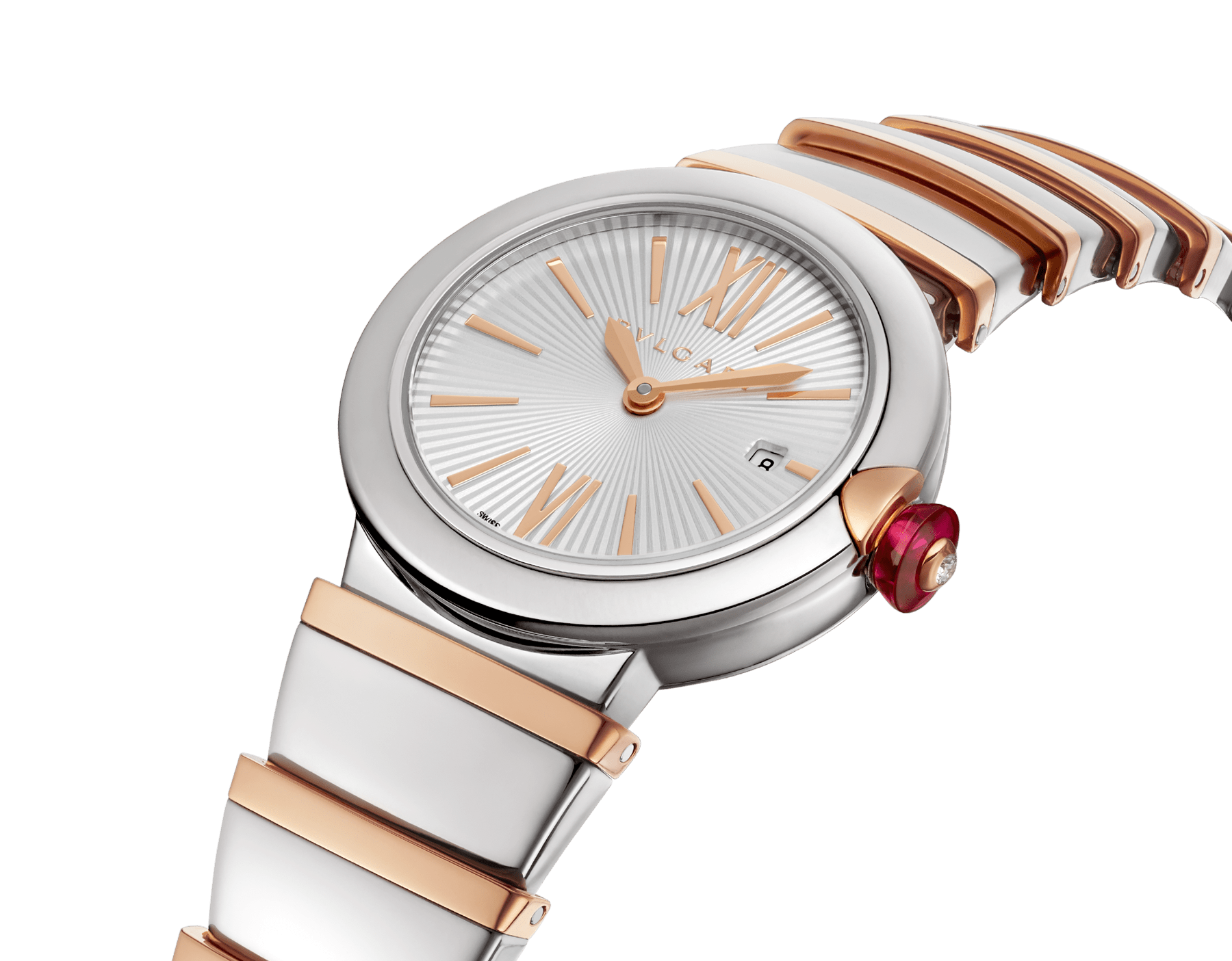 LVCEA watch with stainless steel case, silver opaline dial and bracelet in 18 kt rose gold and stainless steel. 102193 image 2