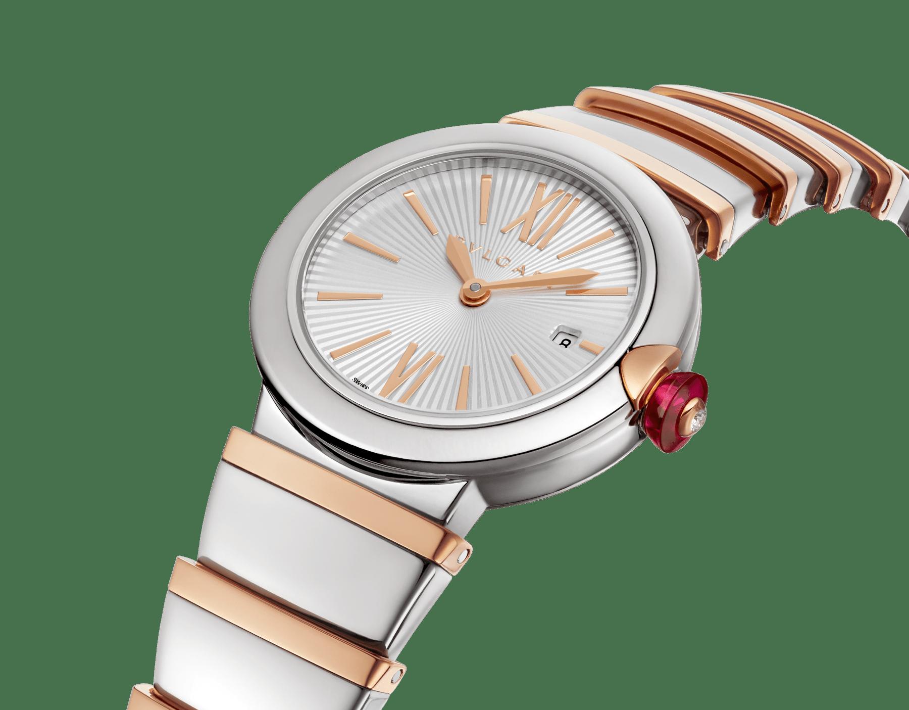 Часы LVCEA, корпус из нержавеющей стали, серебристый опаловый циферблат, браслет из розового золота 18 карат и нержавеющей стали. 102193 image 2