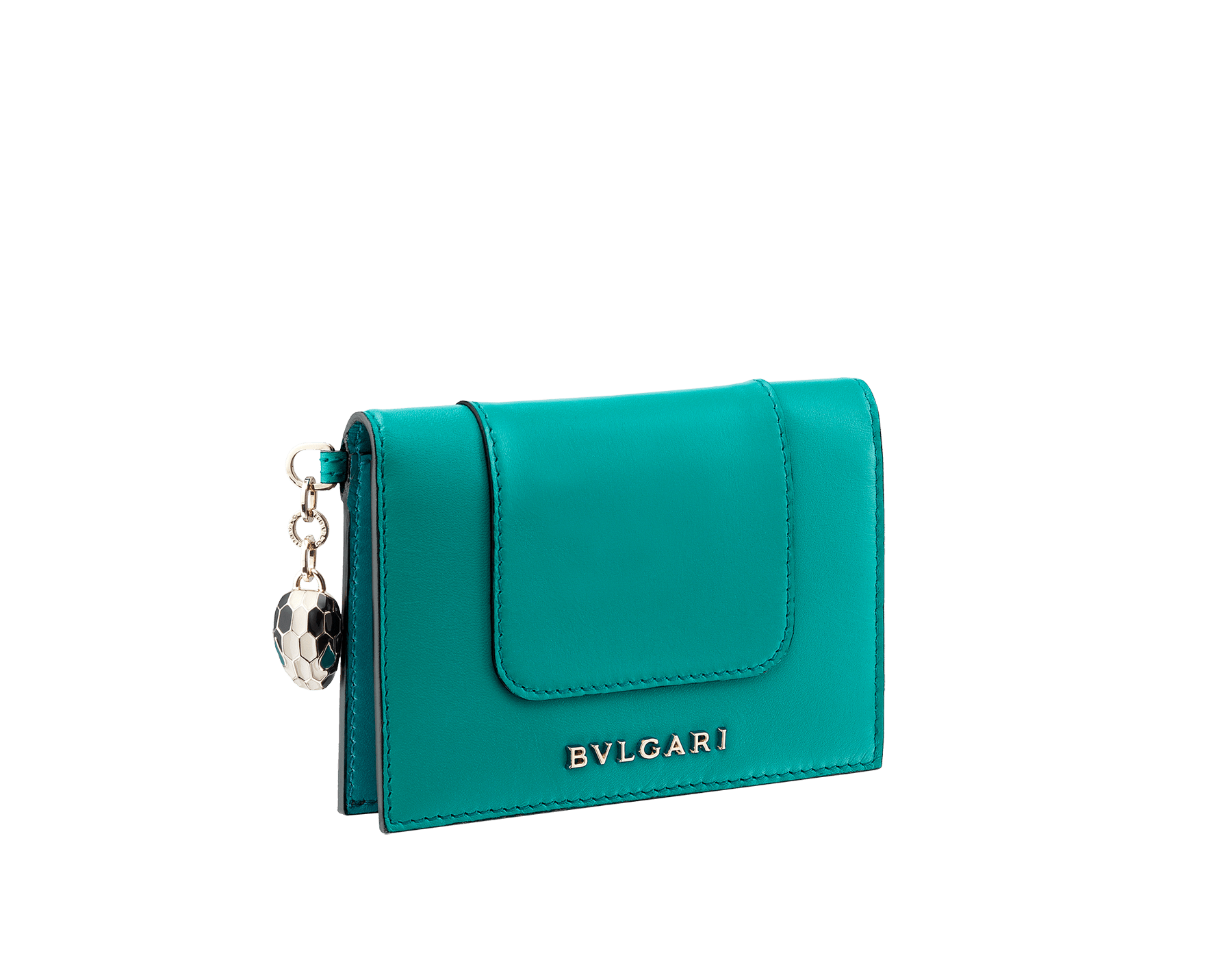 Serpenti Forever folded credit card holder in tropical tourquoise calf leather. Iconic snakehead charm in black and white enamel, with green malachite enamel eyes. 288015 image 1