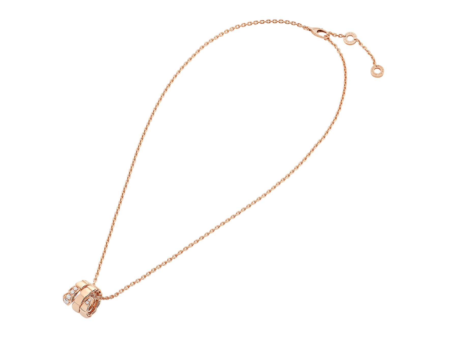 Serpenti Viper pendant necklace in 18 kt rose gold set with demi-pavé diamonds 357794 image 2