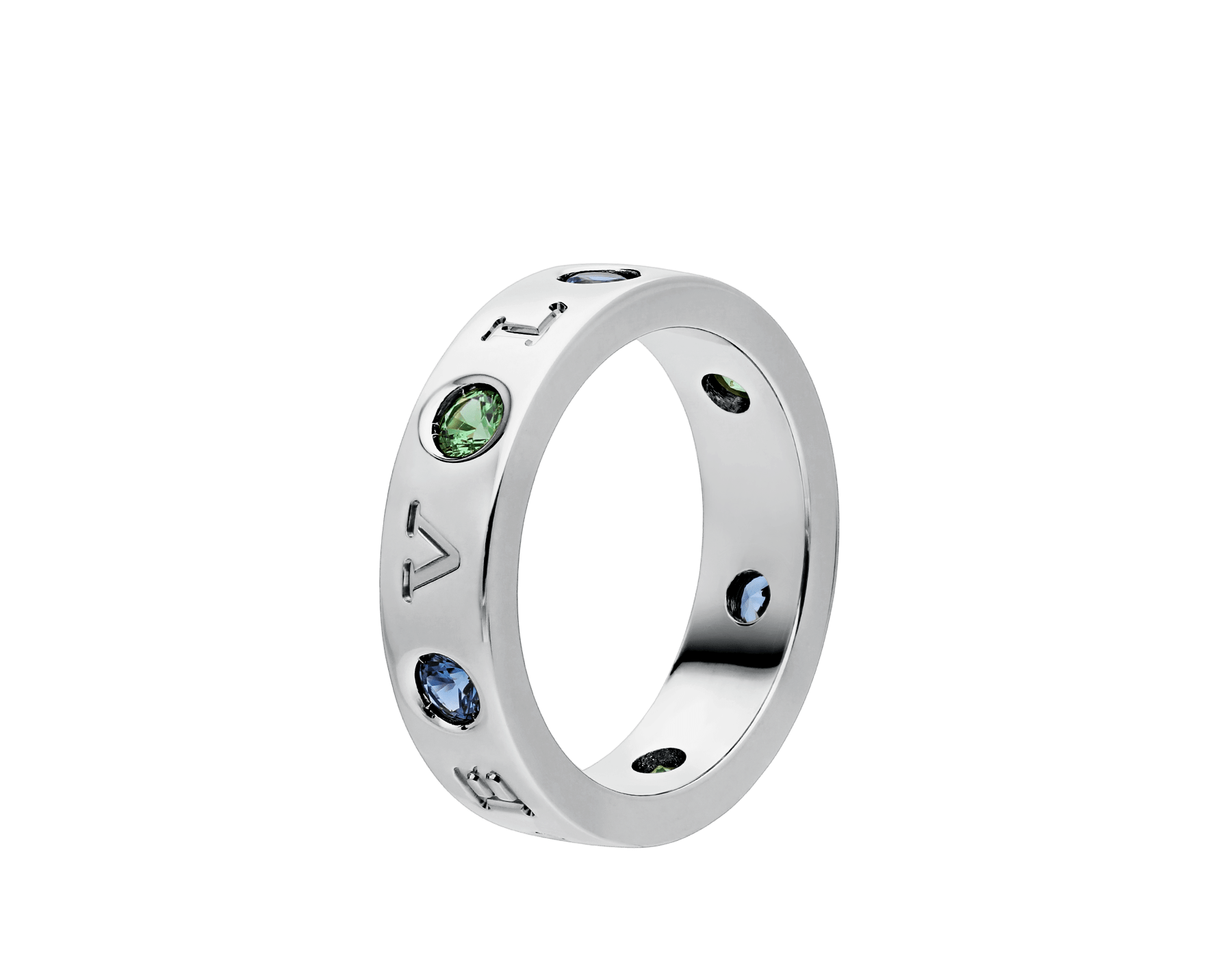 BVLGARI BVLGARI 18 kt white gold ring set with blue sapphires and tsavorites AN857672 image 1