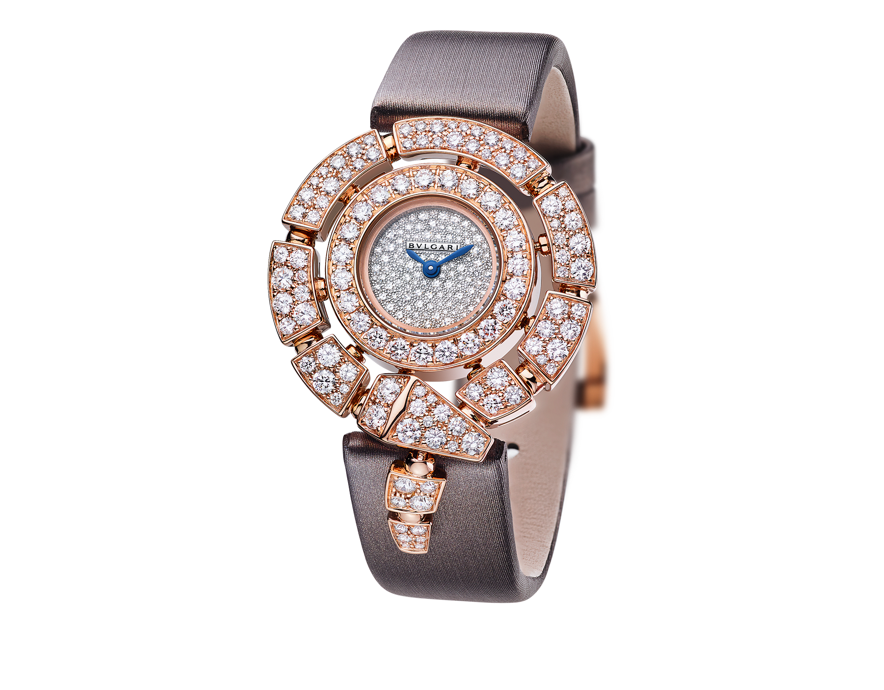 Serpenti Incantati watch with 18 kt rose gold case set with brilliant cut diamonds, snow-pavé diamond dial, grey satin bracelet. 102676 image 1