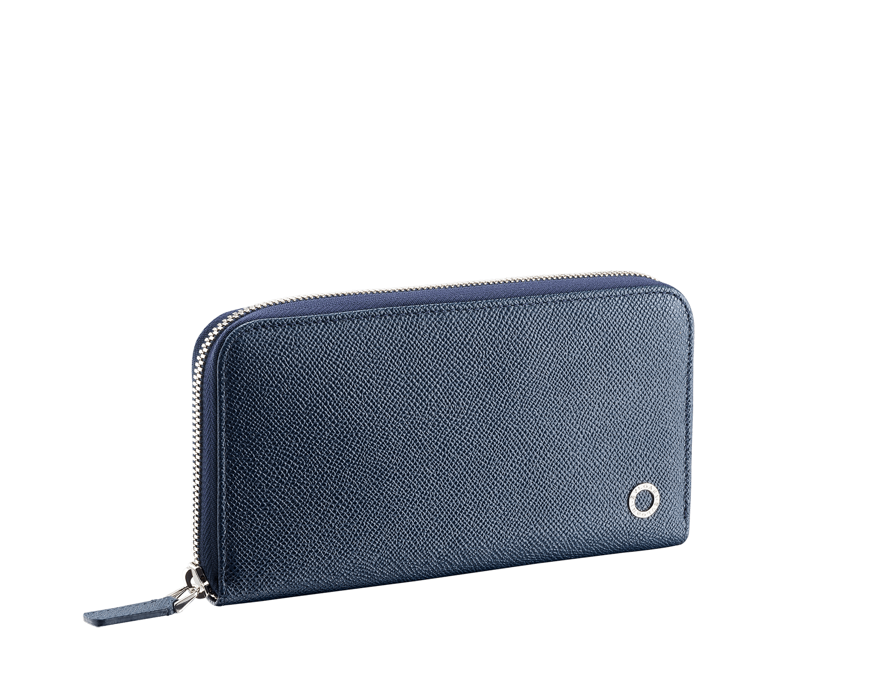 BVLGARI BVLGARI men's zipped wallet in denim sapphire and charcoal diamond grain calf leather and blue slate nappa lining. Iconic logo décor in palladium plated brass. 289102 image 1