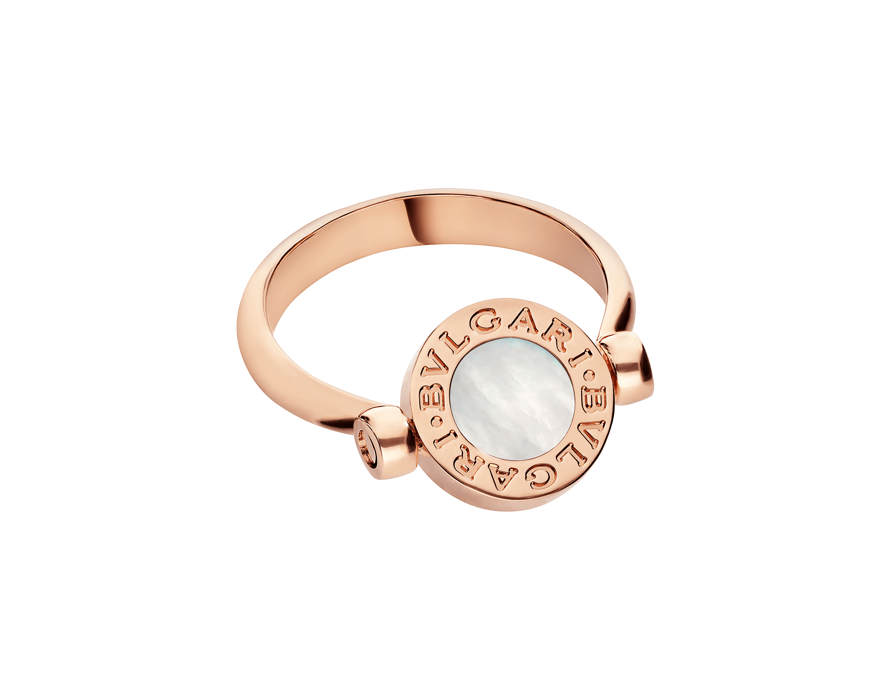 BVLGARI BVLGARI 18 kt rose gold flip ring set with mother-of-pearl and carnelian elements AN858197 image 4