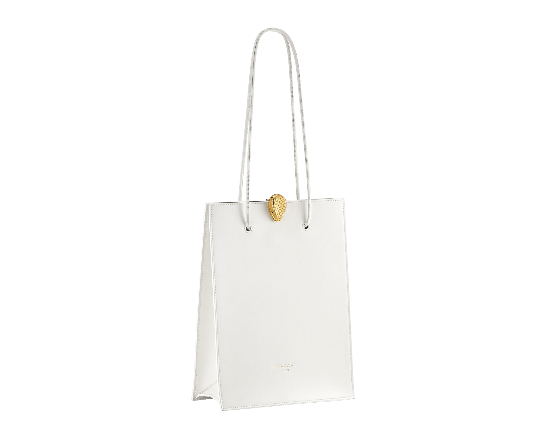 Alexander Wang x Bvlgari shopping tote bag in smooth white calf leather. New Serpenti head closure in antique gold plated brass with tempting red enamel eyes. Limited edition. 288730 image 2
