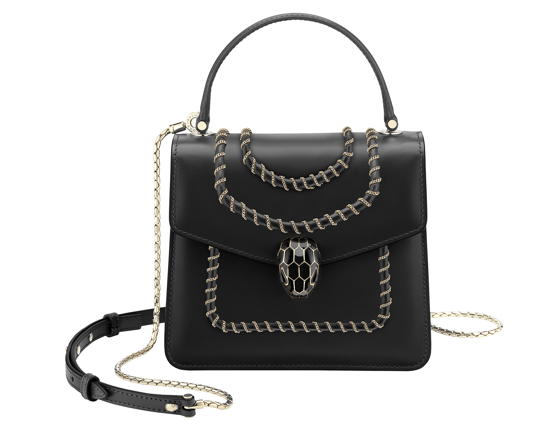 """Serpenti Forever"" crossbody bag in black calf leather, featuring a Woven Chain motif. Iconic snakehead closure in light gold plated brass enriched with shiny black enamel and black onyx eyes 287628 image 1"