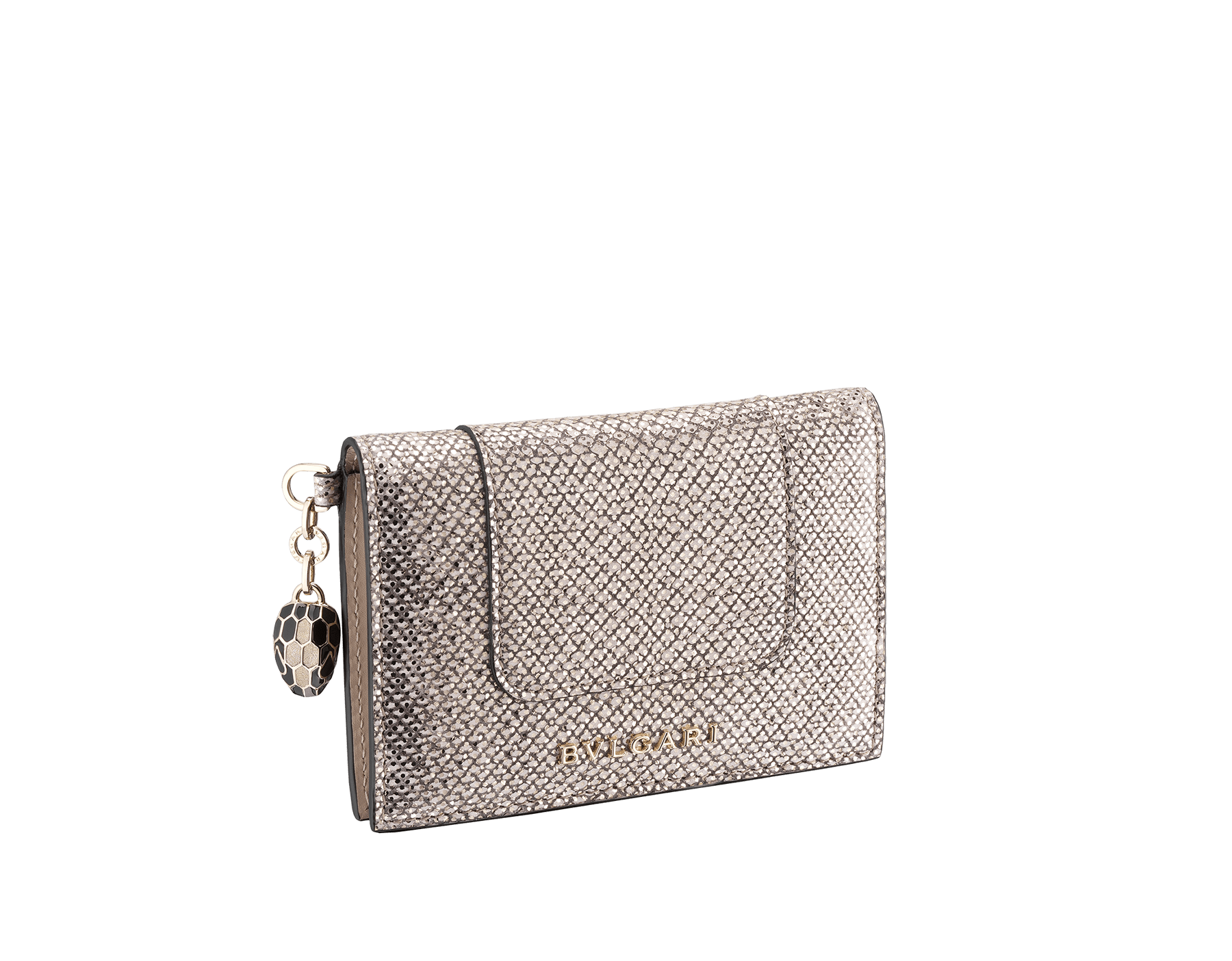 """Serpenti Forever"" folded card holder in mint metallic karung skin and black calf leather. Iconic snakehead charm in black and white agate enamel with black enamel eyes. SEA-CC-HOLDER-FOLD-MKa image 1"
