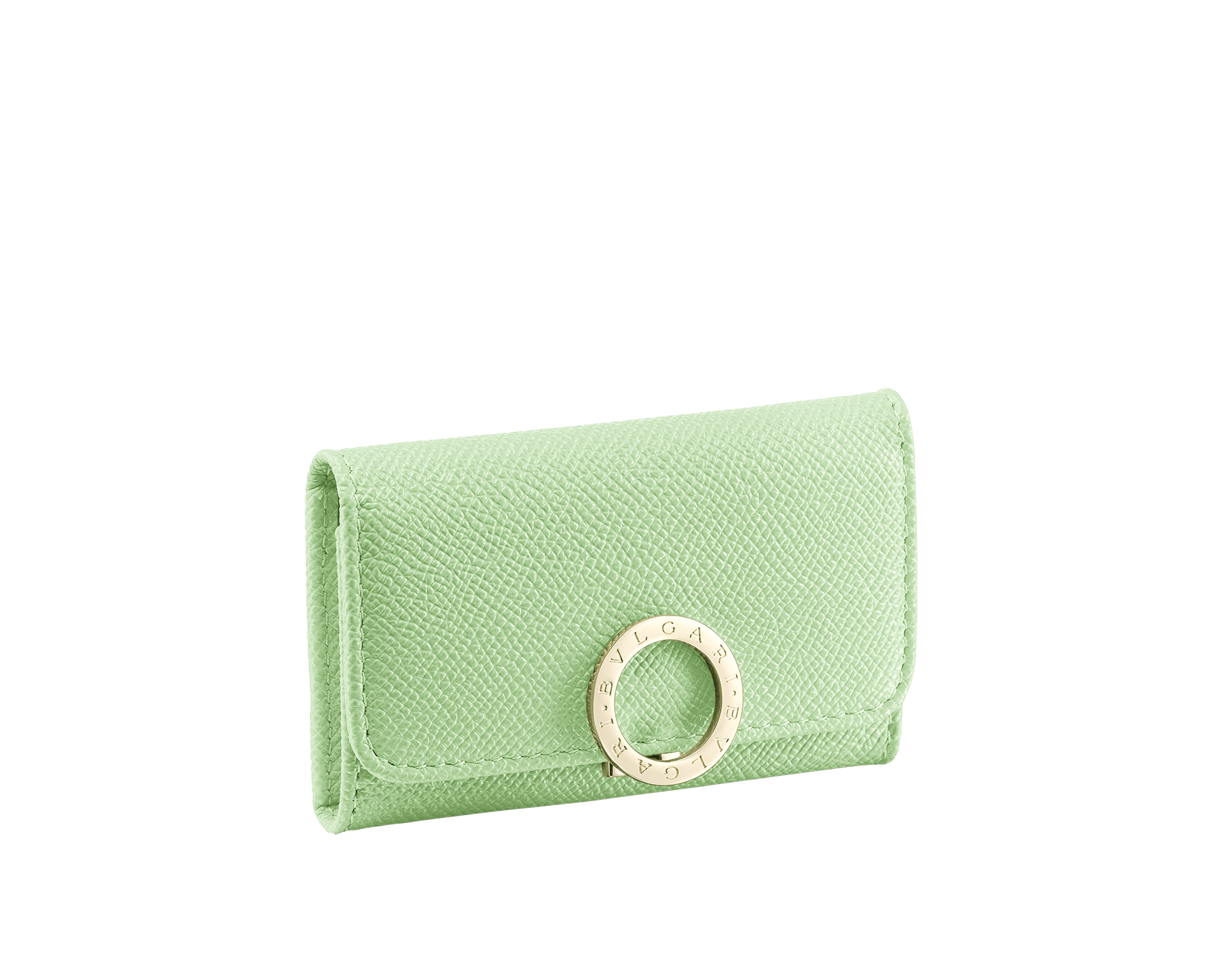 """BVLGARI BVLGARI"" small key holder in mint bright grain calf leather and taffy quartz soft nappa leather. Iconic logo clip closure in light gold plated brass. 579-KEYHOLDER-Sa image 1"
