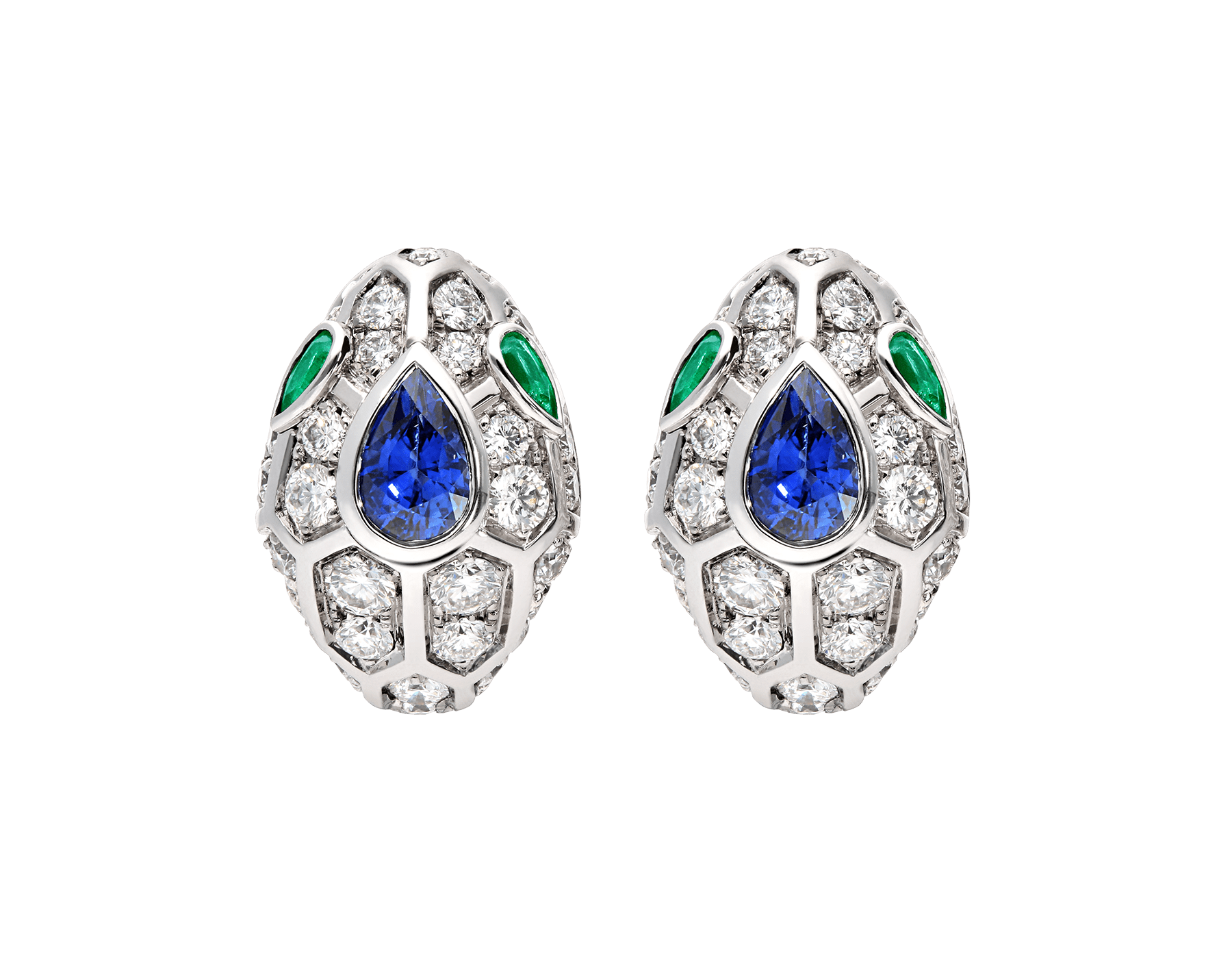Serpenti 18 kt white gold earrings, set with a blue sapphire on the head, emerald eyes and pavé diamonds. 355355 image 1
