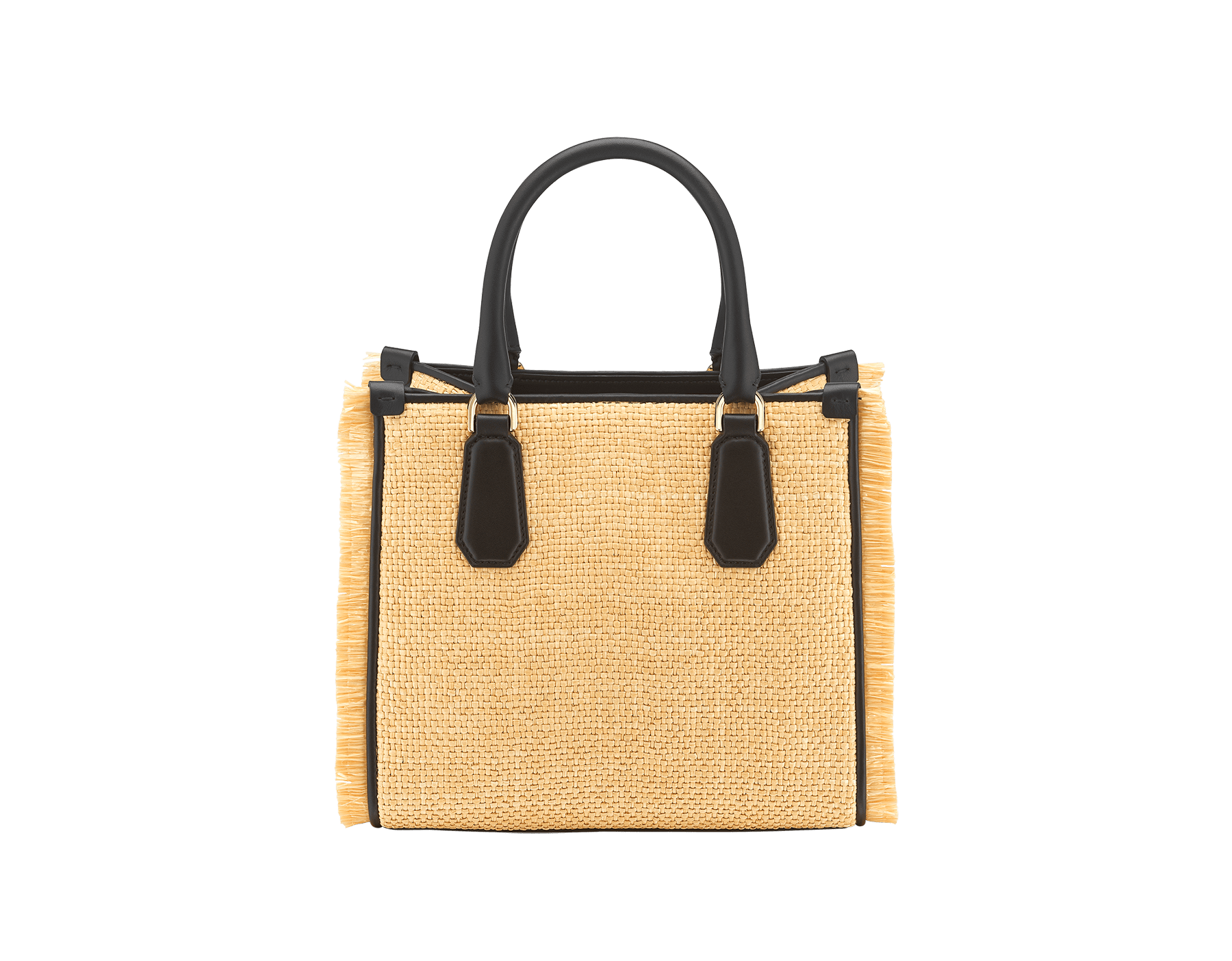 """Bvlgari Logo"" tote bag in beige raffia enhanced with beige raffia fringes, and black grosgrain internal lining. Bvlgari logo featured with chain inserts on the black calf leather. 290953 image 3"