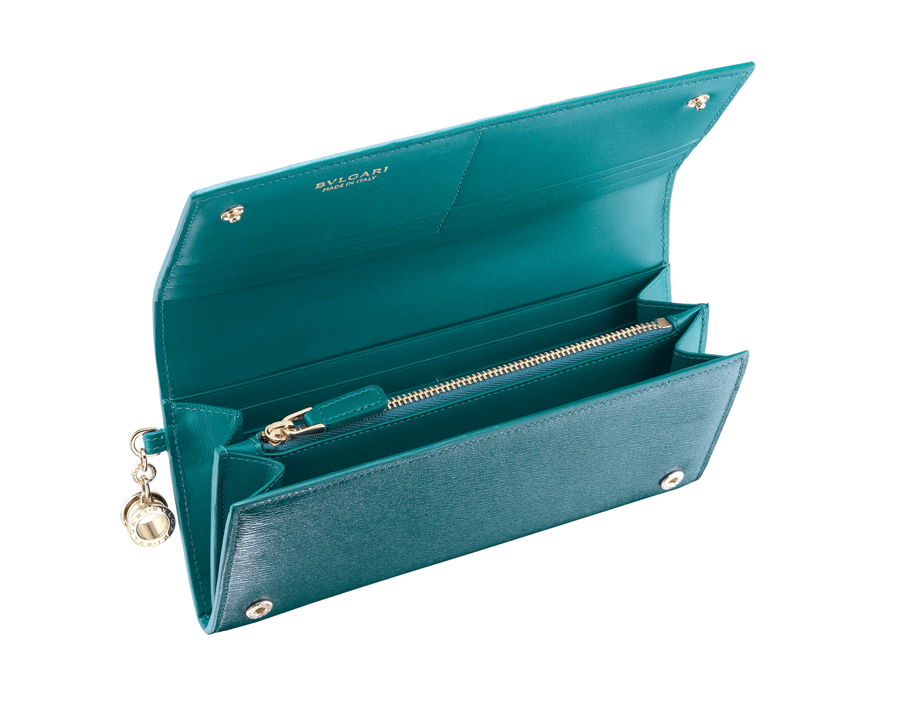 B.zero1 wallet pochette in tropical turquoise and deep jade goatskin. Iconic B.zero1 charm in light gold plated brass and closure clip. 288230 image 4
