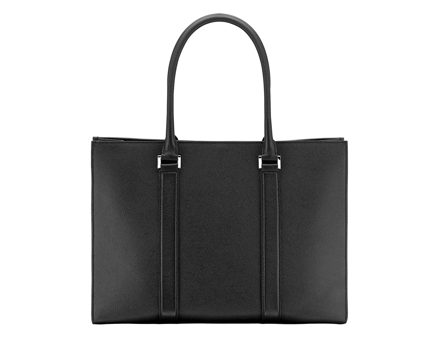 Tote bag in black grain calf leather with brass palladium plated hardware. One zipped pocket, three open pockets and Bulgari logo metal tag inside. Iconic detachable label tag. Also available in other colours. 37625 image 2