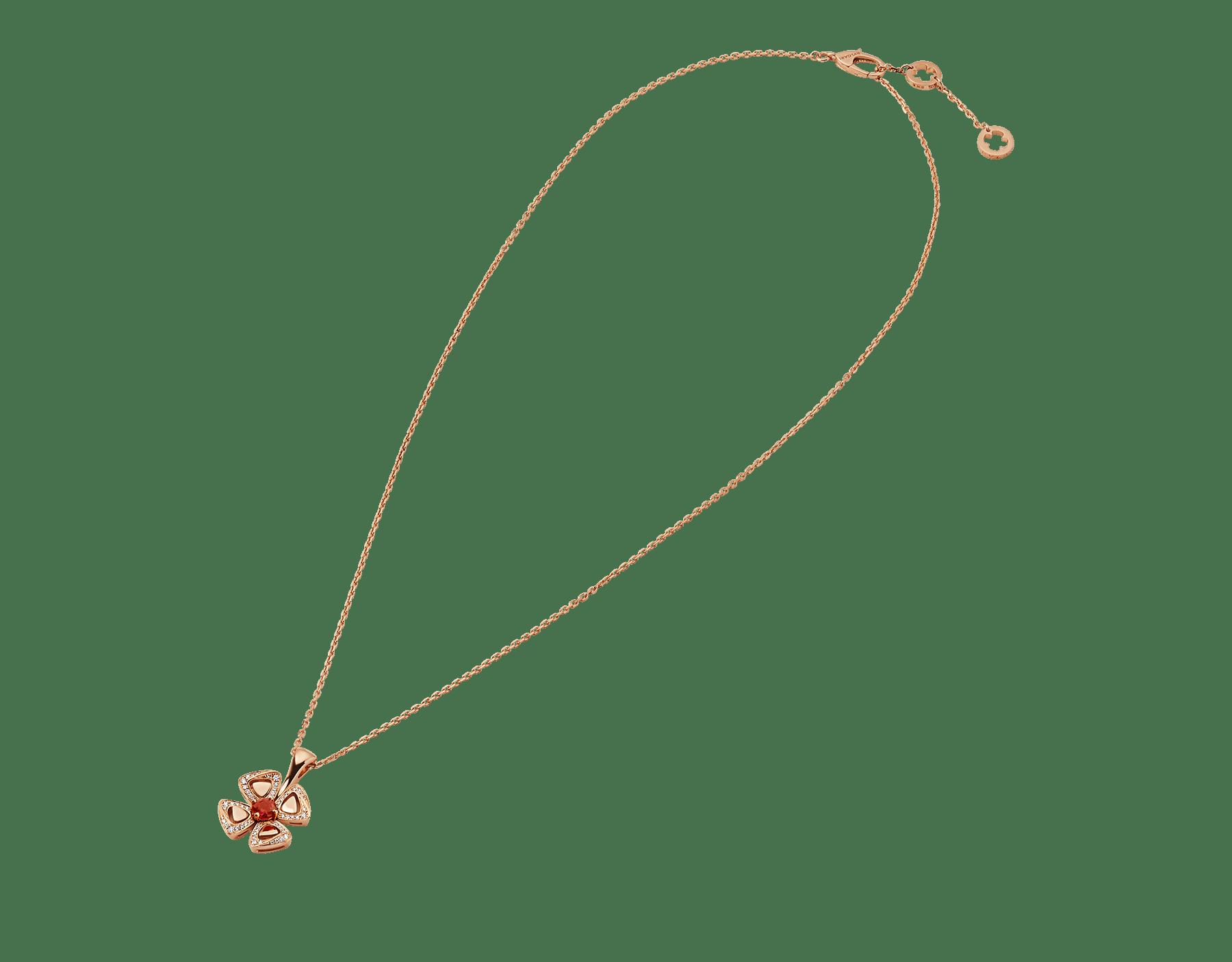 Collier Fiorever en or rose 18K serti d'un rubis de centre avec pavé diamants 356224 image 2