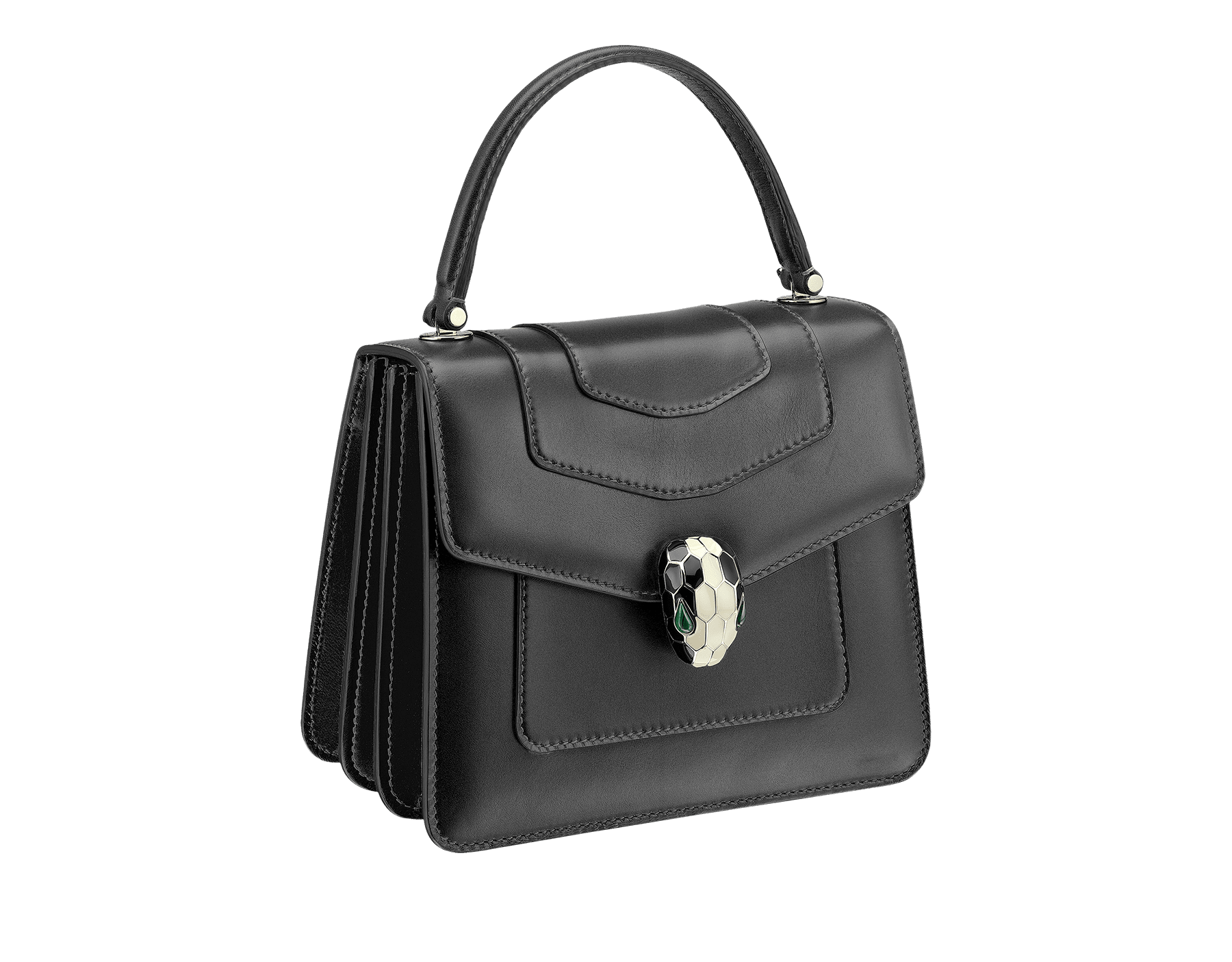 Flap cover bag Serpenti Forever in black calf leather and jade green gros-grain lining.Brass light gold plated hardware and snake head closure in black and white enamel with eyes in green malachite. 284537 image 2
