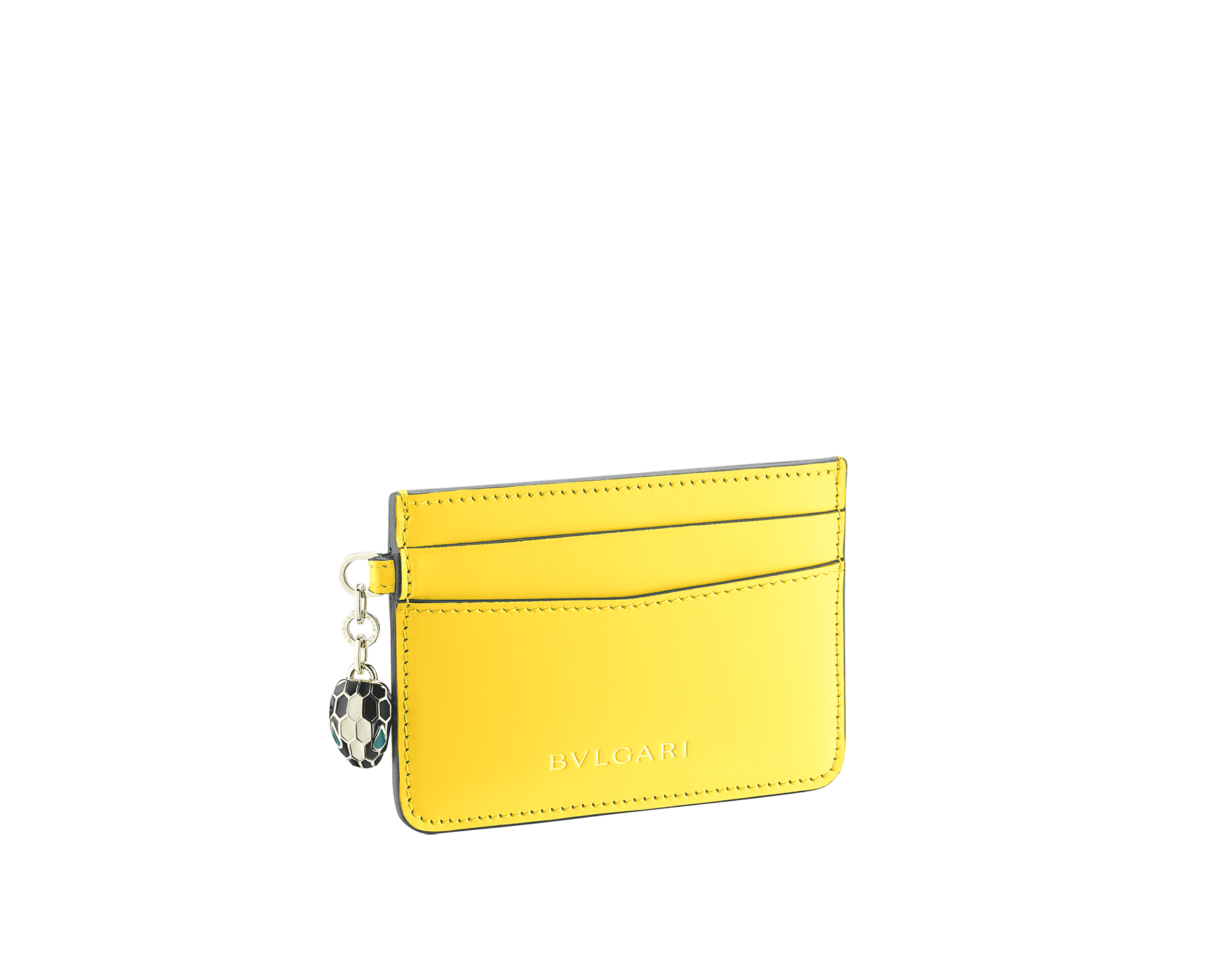 Serpenti Forever credit card holder in daisy topaz calf leather. Iconic snake head charm in black and white agate enamel, with green emerald enamel eyes. 289705 image 1