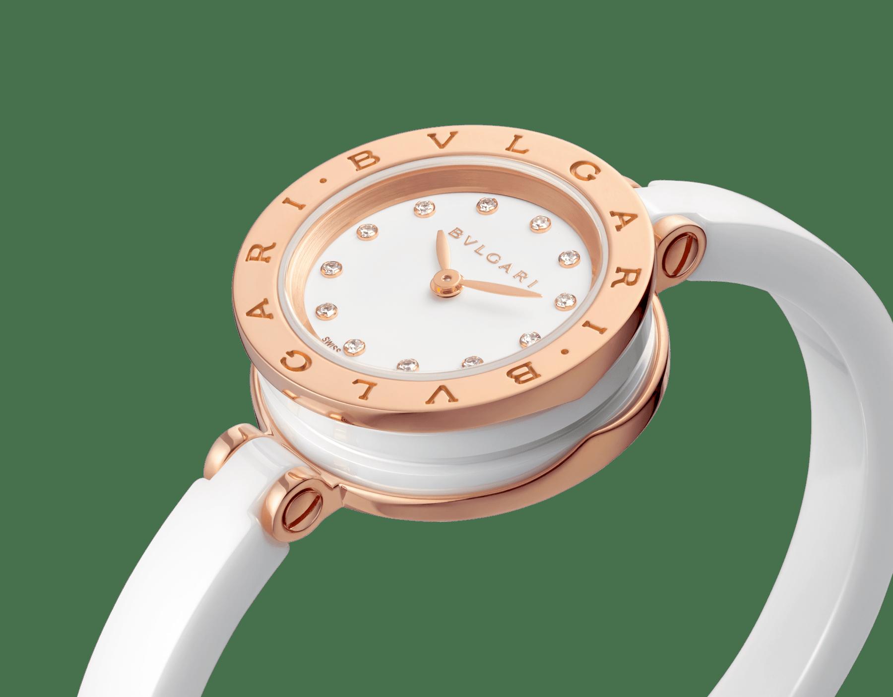Montre B.zero1 avec boîtier en or rose 18K et acier inoxydable, bracelet jonc et spirale en céramique blanche, cadran laqué blanc et index sertis de diamants. Moyen modèle B01watch-white-white-dial3 image 6
