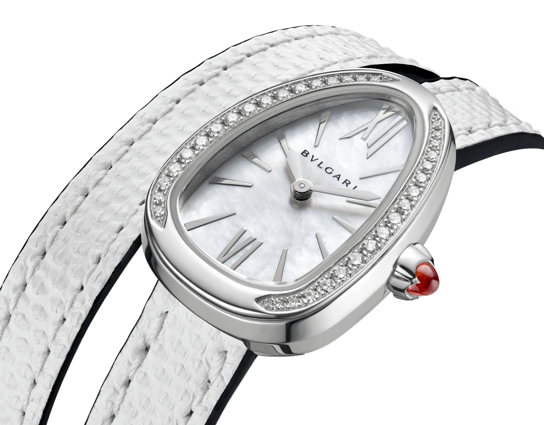 Serpenti watch with stainless steel case set with diamonds, white mother-of-pearl dial and interchangeable double spiral bracelet in white karung leather. 102781 image 3