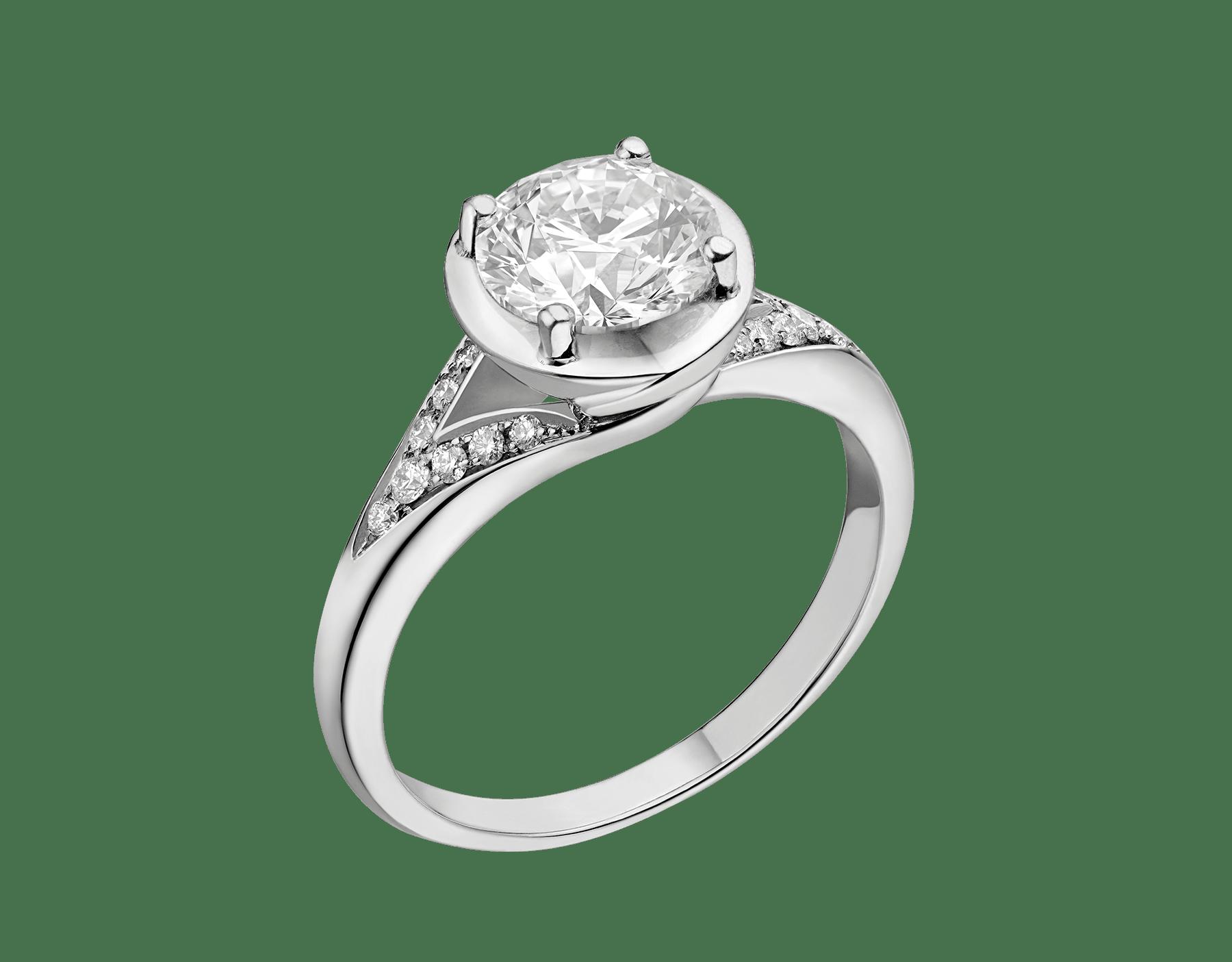 Anel Incontro d'Amore em platina cravejado com diamante redondo lapidação brilhante e pavê de diamantes 352259 image 1