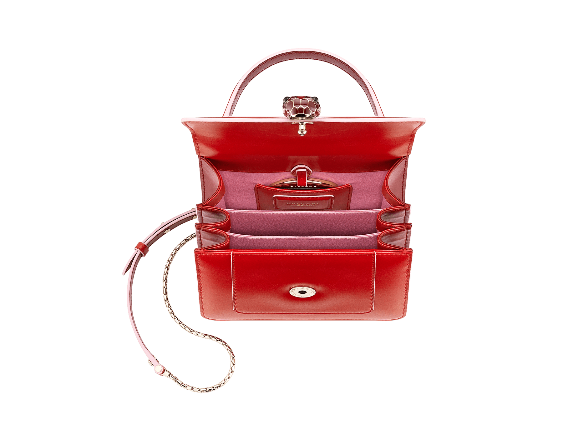 """Serpenti Forever "" crossbody bag in white agate calf leather body and ruby red calf leather sides. Iconic snakehead closure in light gold plated brass enriched with ruby red and white agate enamel and black onyx eyes. 752-BCLa image 6"