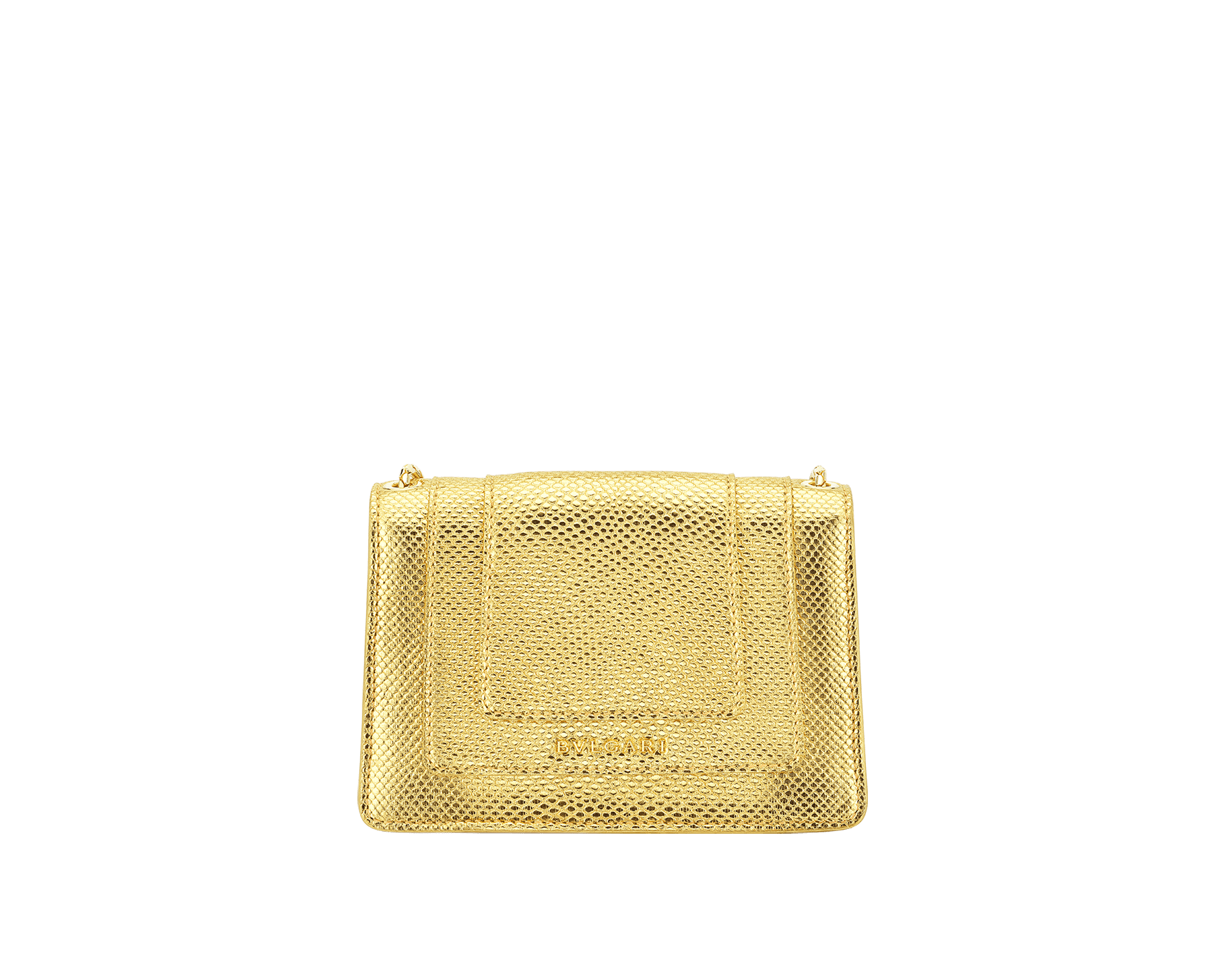 """Serpenti Forever"" mini crossbody bag in ""Molten"" gold karung skin with black nappa leather inner lining, offering a touch of radiance for the Winter Holidays. New Serpenti head closure in gold-plated brass, complete with ruby-red enamel eyes. 290619 image 3"