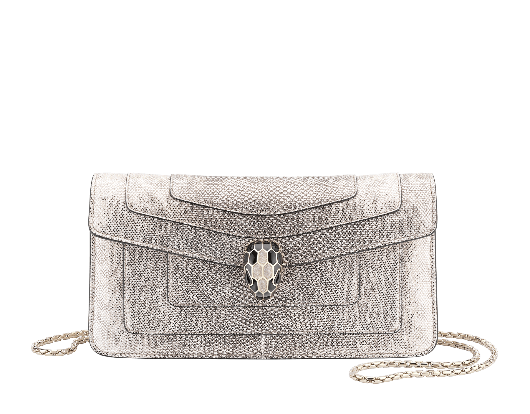 Serpenti Forever shoulder bag in milky opal metallic karung skin. Snakehead closure in light gold plated brass decorated with black and glitter milky opal enamel, and black onyx eyes. 287943 image 1