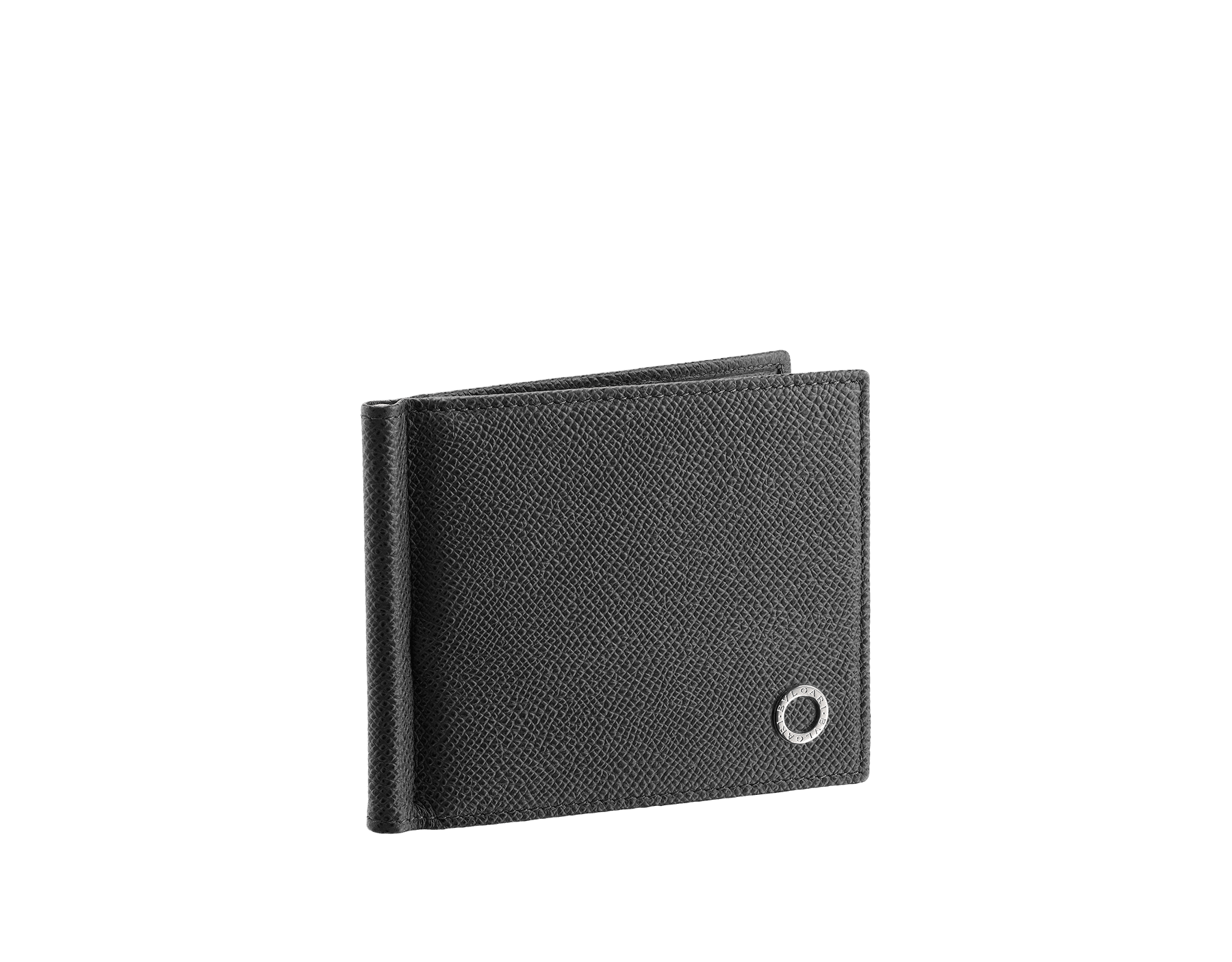 Wallet hipster for men in black grain calf leather with bill clip. Brass palladium plated hardware featuring the BVLGARI BVLGARI motif. 285275 image 1