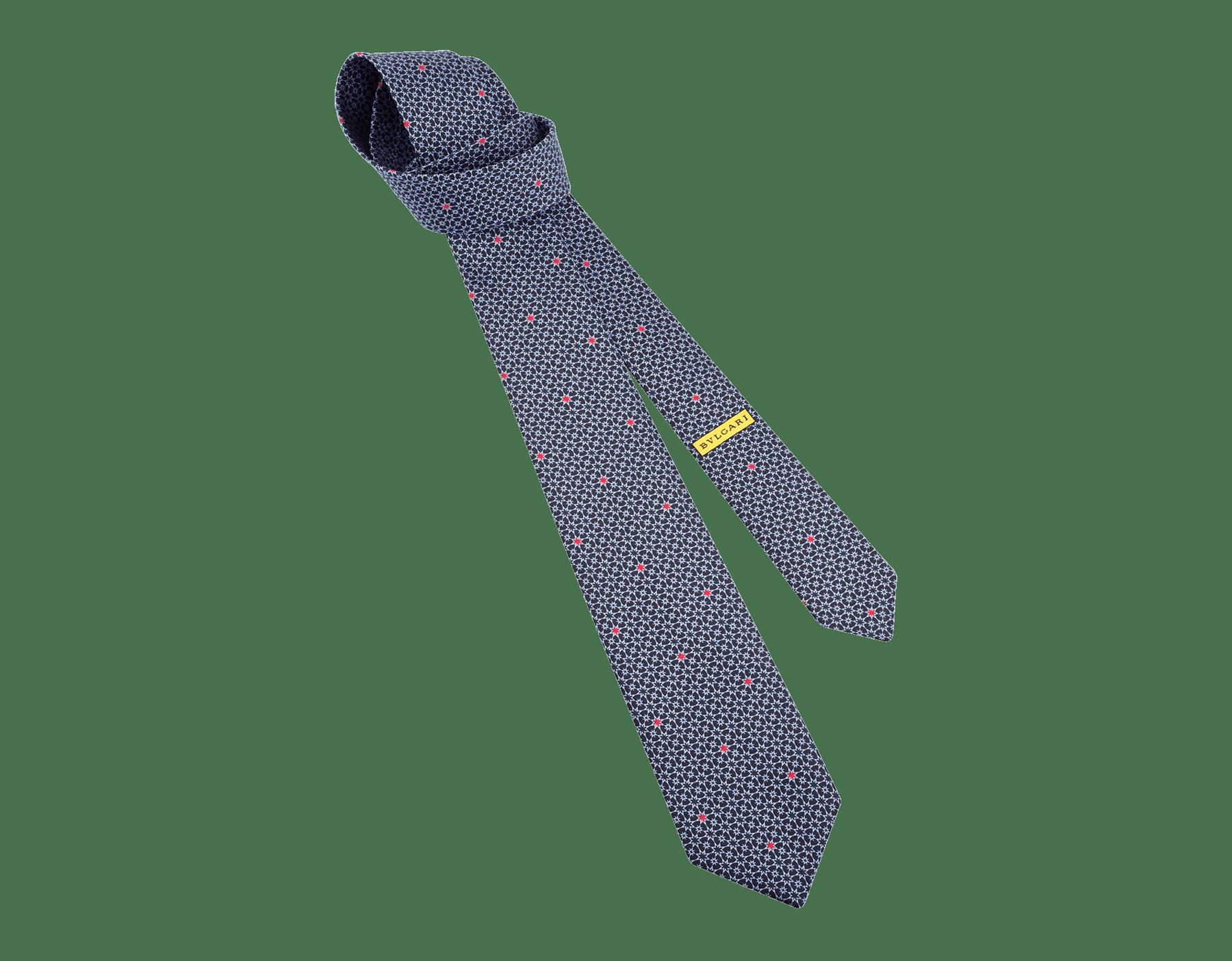 Navy Marino pattern seven-folds tie in fine silk. 243700 image 1
