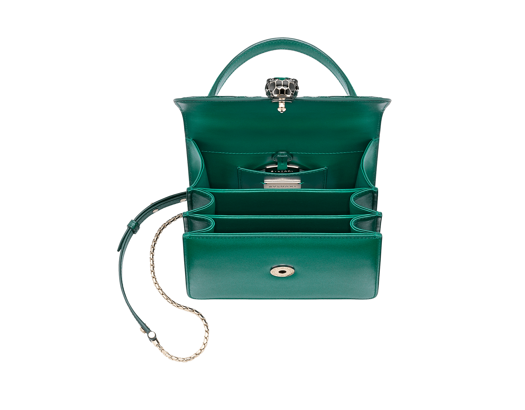 Serpenti Forever crossbody bag in sea star coral shiny croco skin and smooth calf leather. Snakehead closure in light gold plated brass decorated with black and white enamel, and green malachite eyes. 752-CLCR image 4