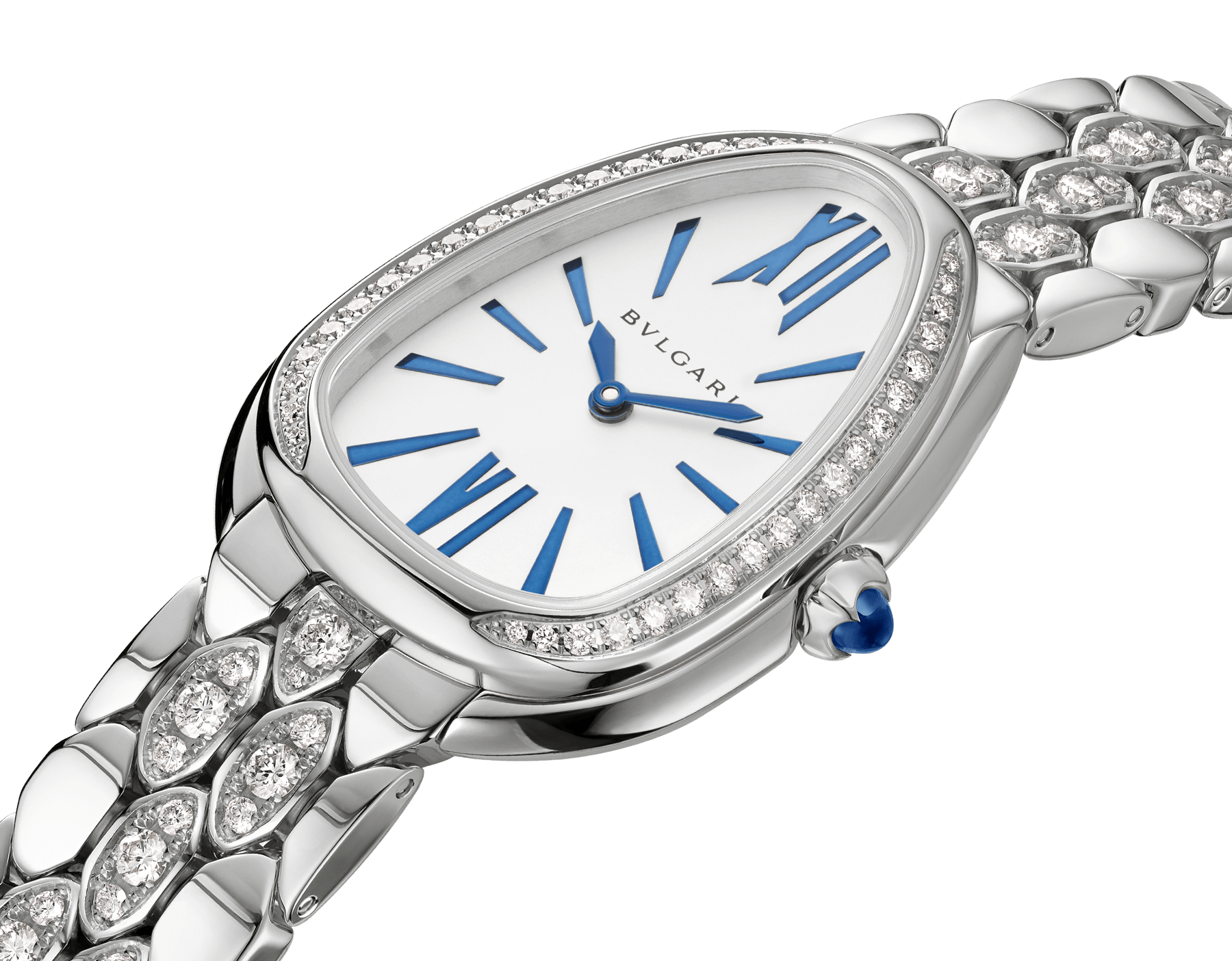 Serpenti Seduttori watch with 18 kt white gold case and bracelet both set with diamonds, and silver opaline dial 103276 image 2