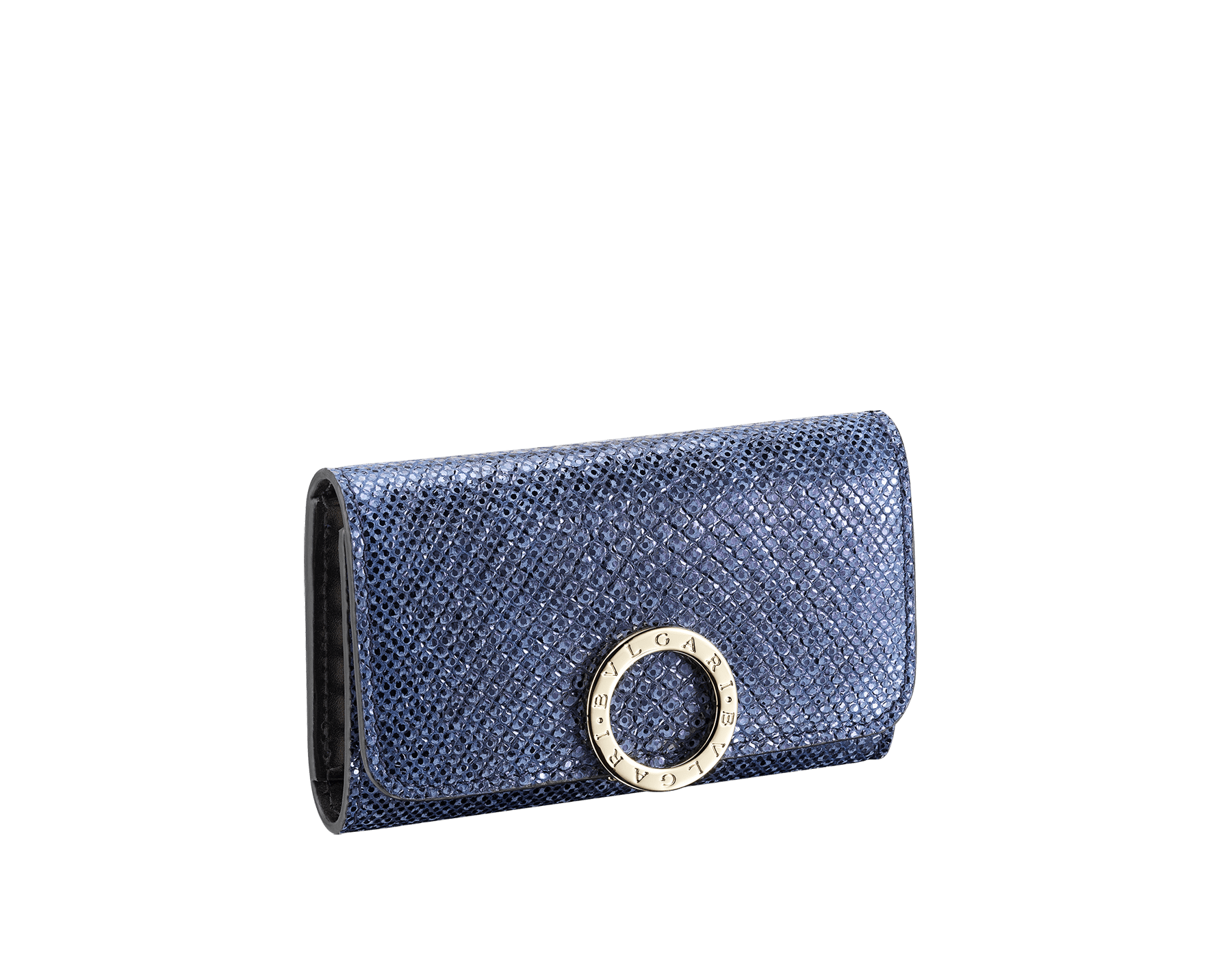 Petit porte-clés BVLGARI BVLGARI en karung métallisé couleur bleu Midnight Sapphire et cuir de veau noir. Fermoir emblématique orné du logo BVLGARI BVLGARI en laiton doré. 579-KEYHOLDER-S-MK image 1