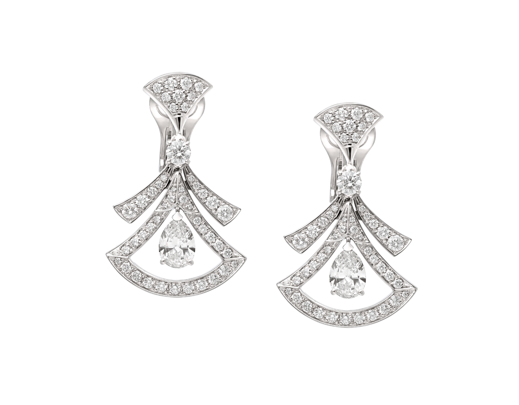 Divas' Dream 18 kt white gold openwork earrings set with two pear-shaped diamonds (1.40 ct), two round brilliant-cut diamonds (0.30 ct) and pavé diamonds (1.18 ct) 358221 image 1